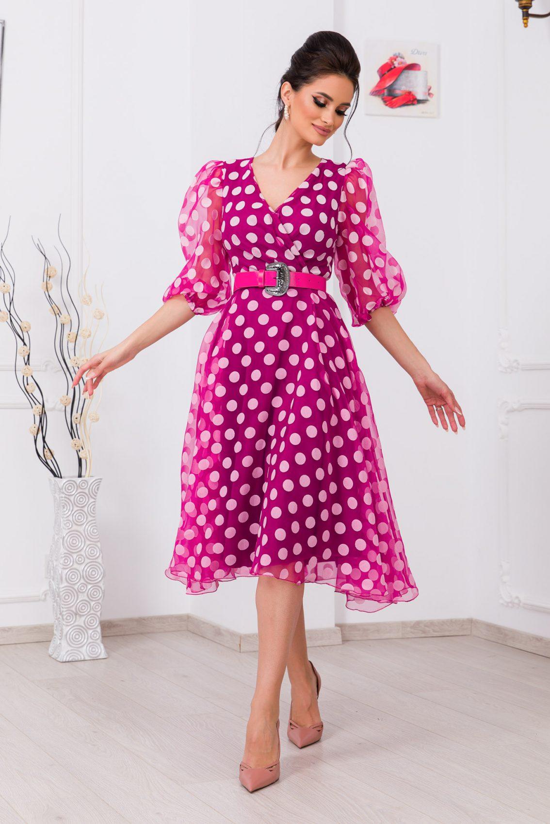Πουά Φούξια Κρουαζέ Φόρεμα Mon Cherie 9714 1
