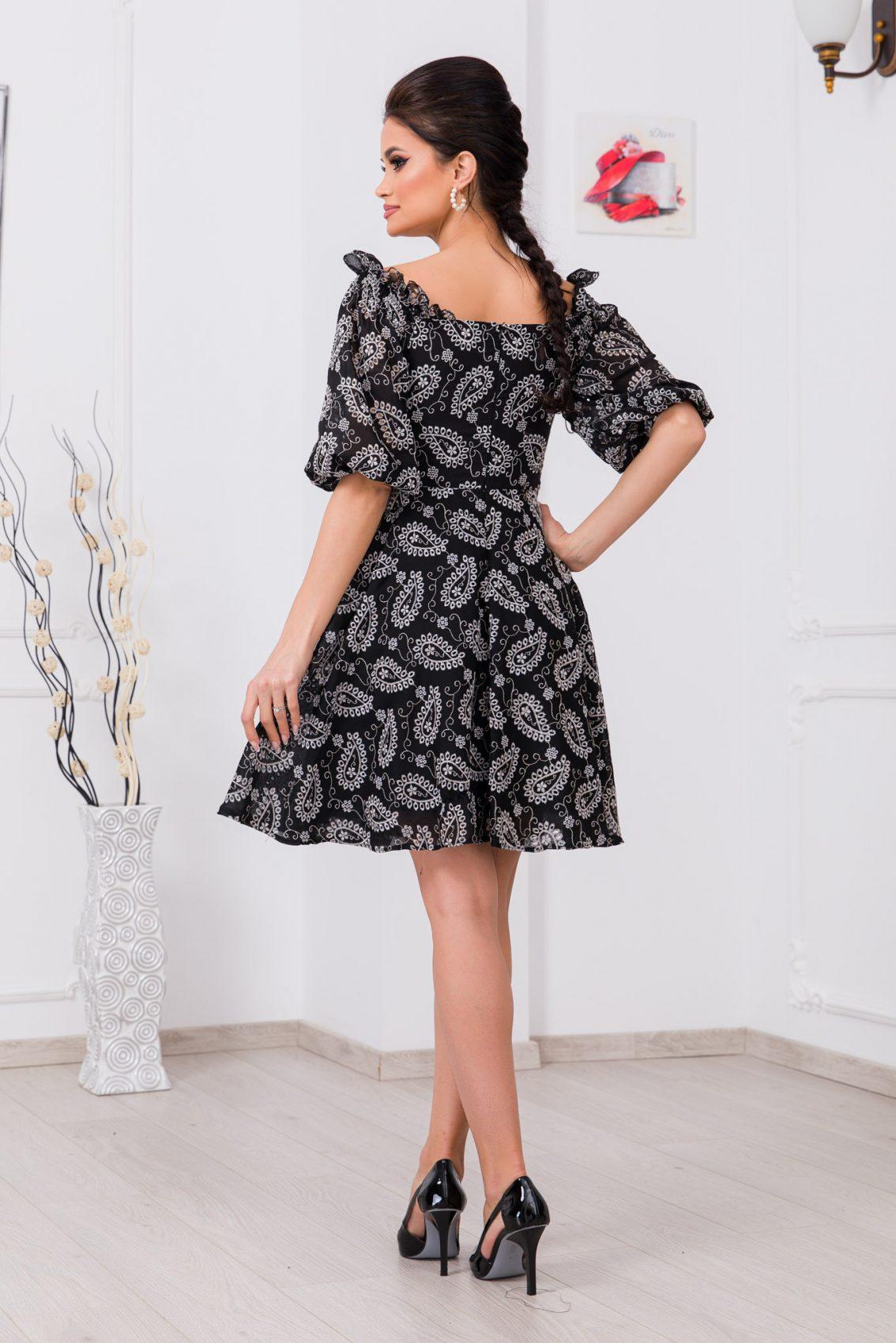 Μαύρο Φόρεμα Με Κουμπιά Rowana 9781 2