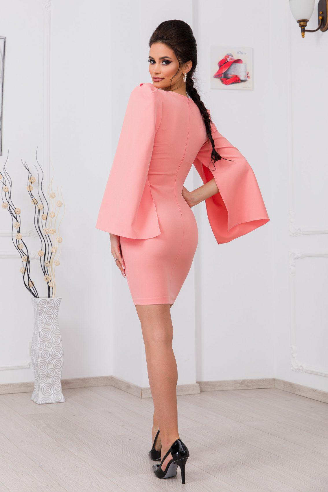 Ροδακινί Φόρεμα Dulce 9761 2