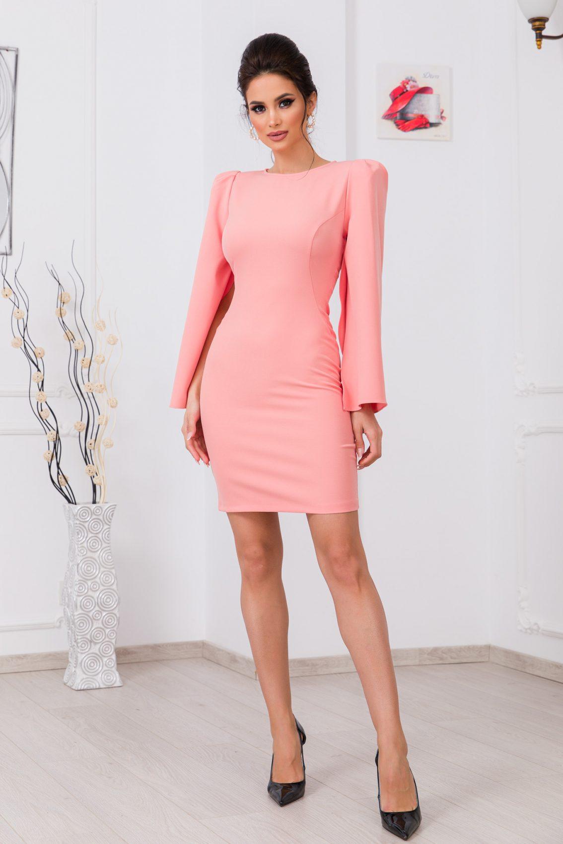 Ροδακινί Φόρεμα Dulce 9761 1