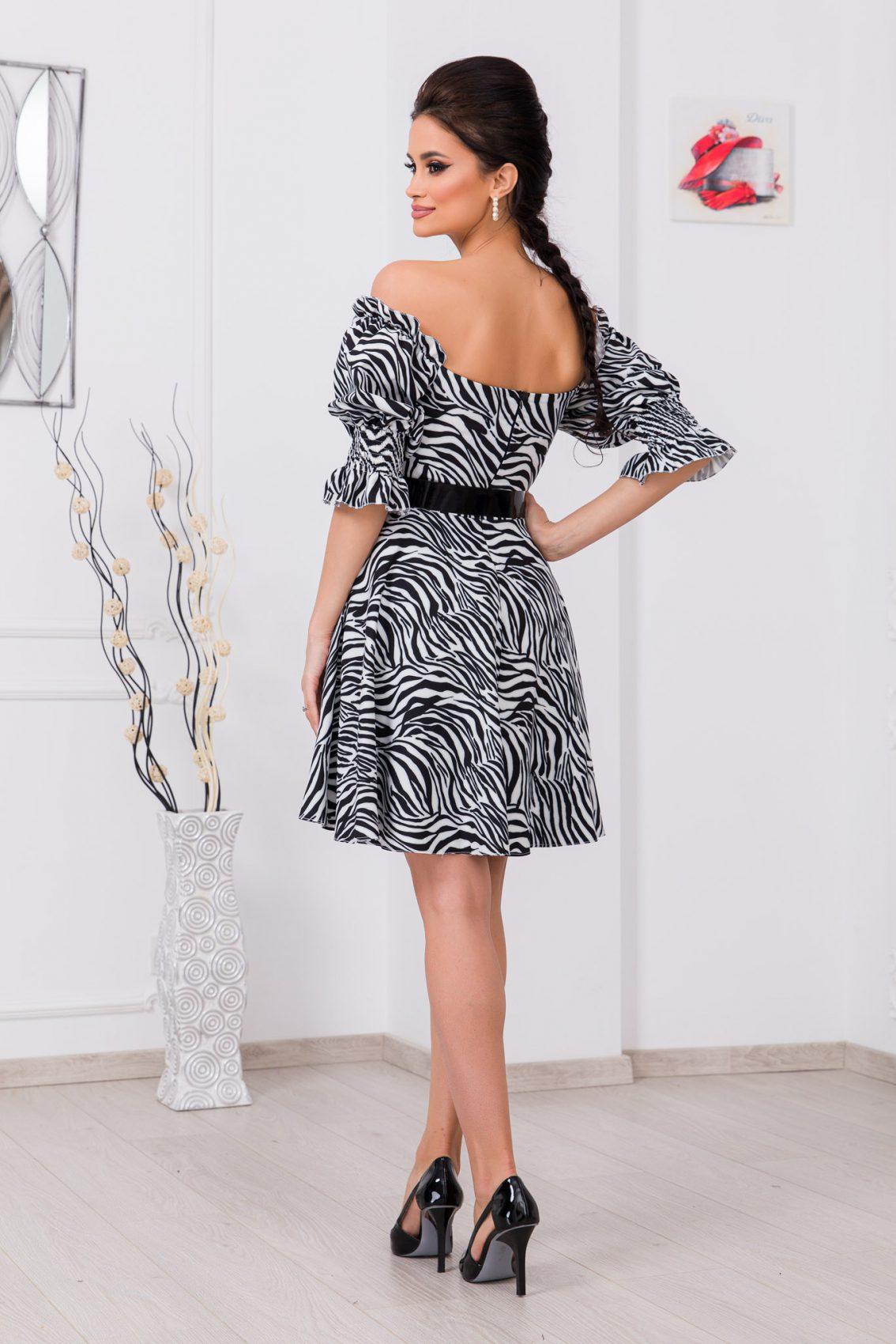 Ασπρόμαυρο Φόρεμα Με Ζώνη Elixir 9728 2