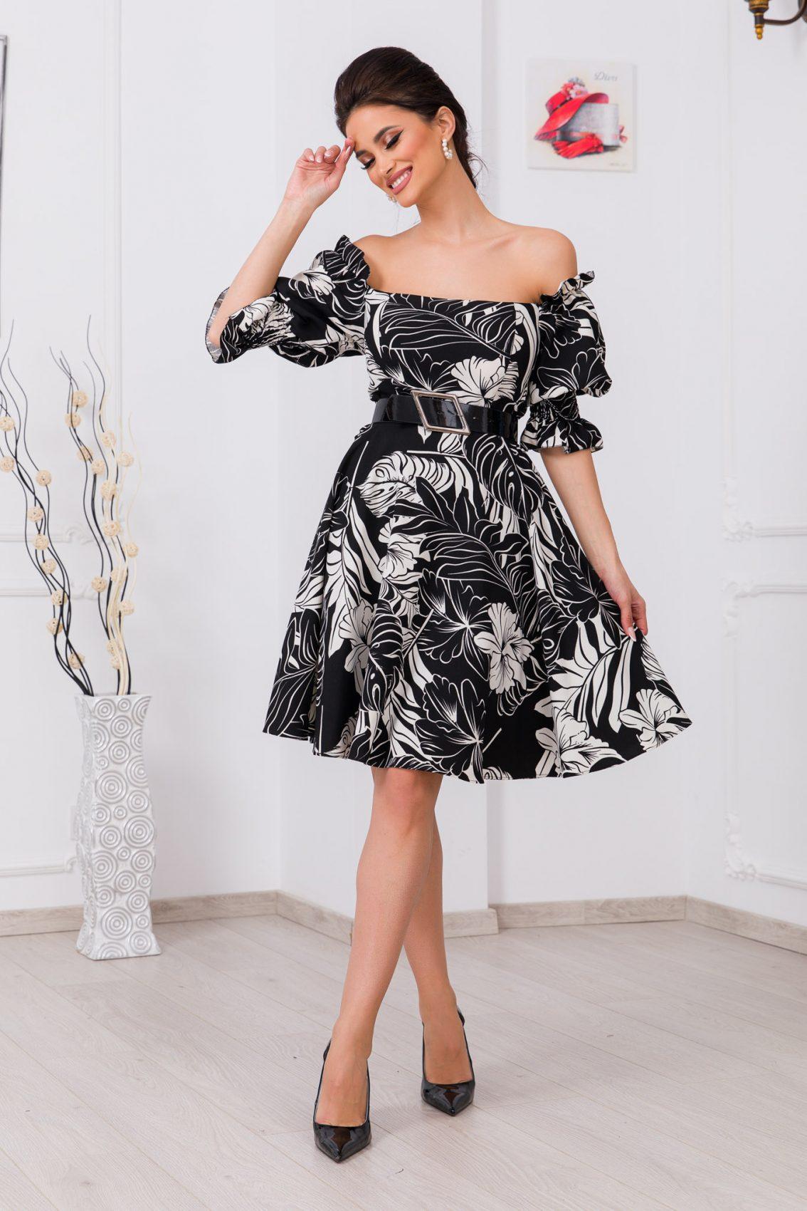 Φλοράλ Ασπρόμαυρο Φόρεμα Elixir 9729 1