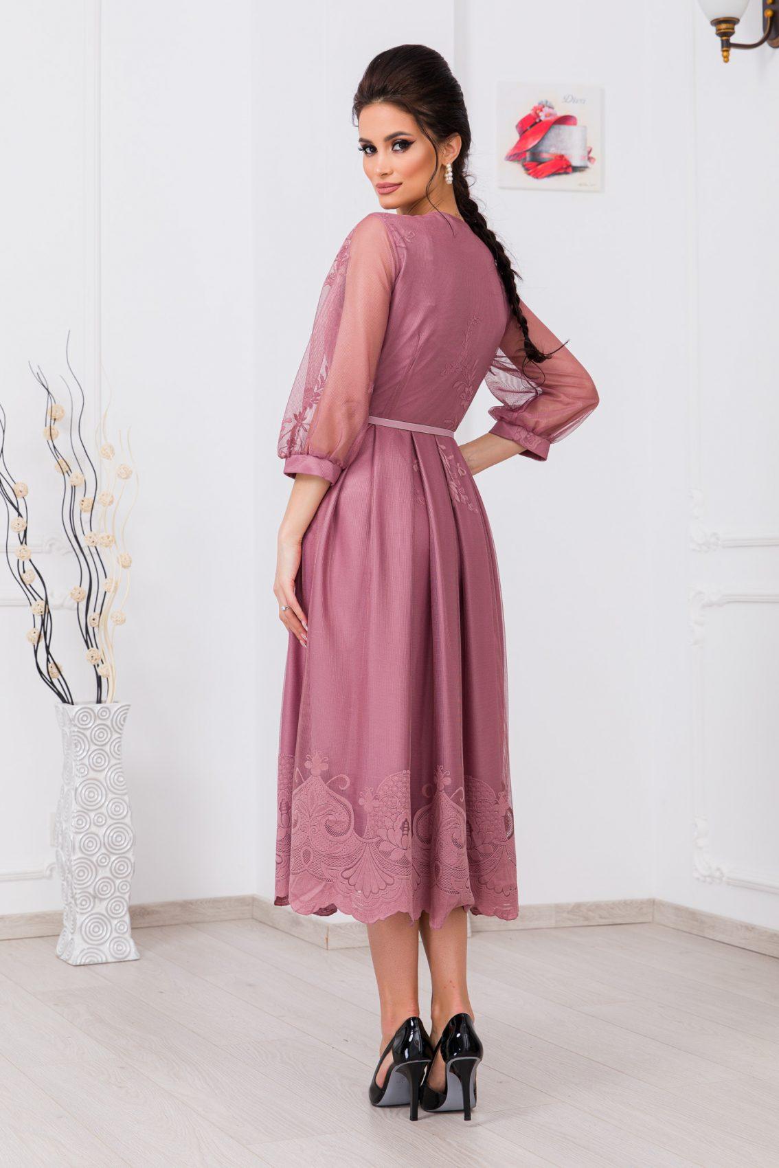 Λιλά Βραδινό Φόρεμα Από Δαντέλα Hailey 9758 2