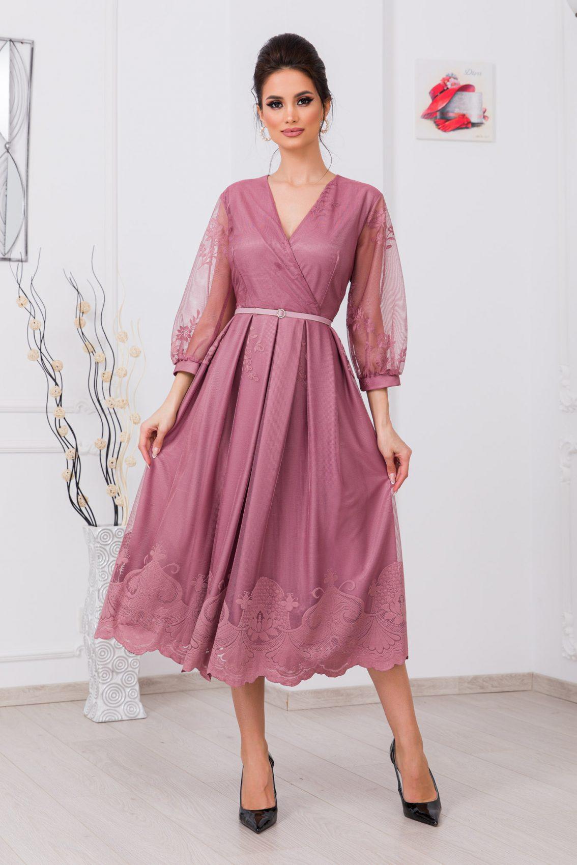 Λιλά Βραδινό Φόρεμα Από Δαντέλα Hailey 9758 1