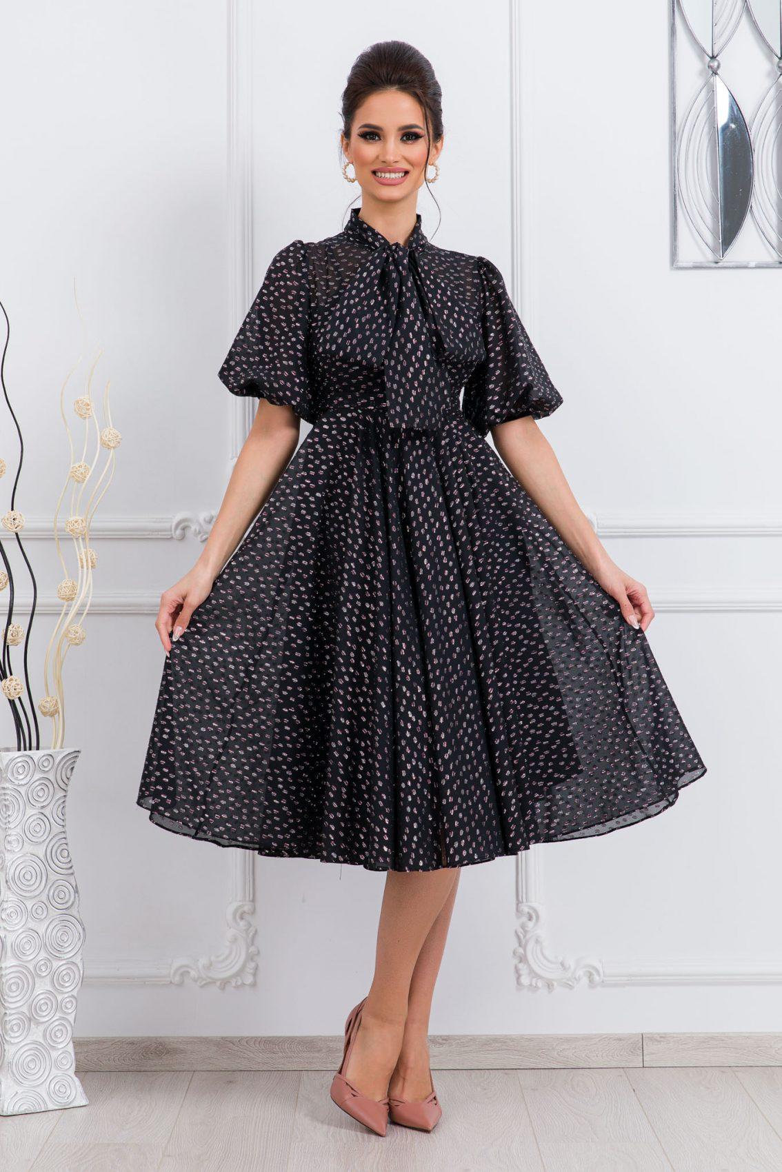 Μαύρο Βραδινό Φόρεμα Με Φιόγκο Sensational 9740 1