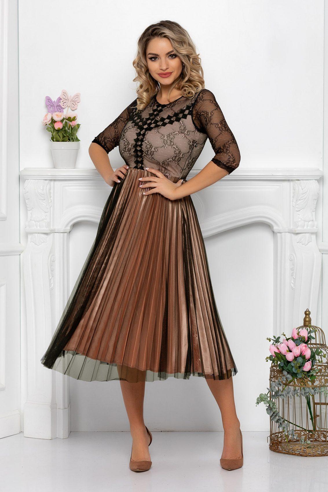 Nude Μίντι Πλισέ Φόρεμα Romance 9490 1