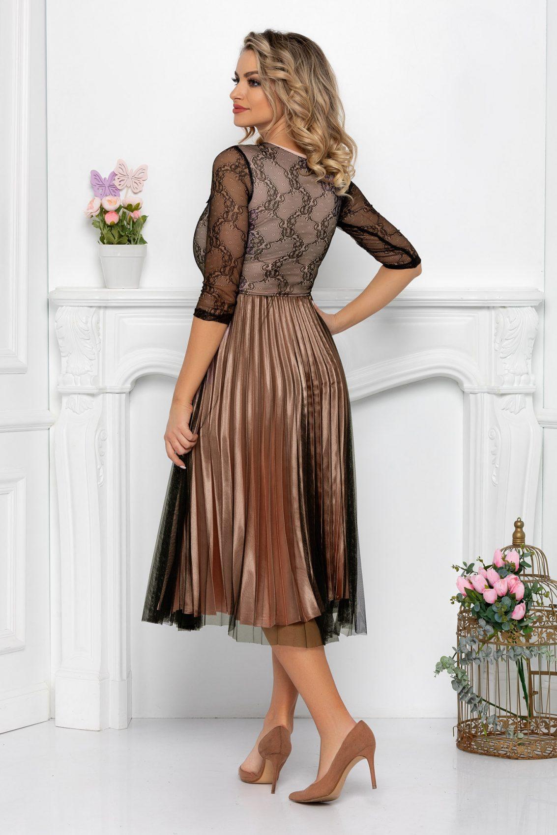Nude Μίντι Πλισέ Φόρεμα Romance 9490 2