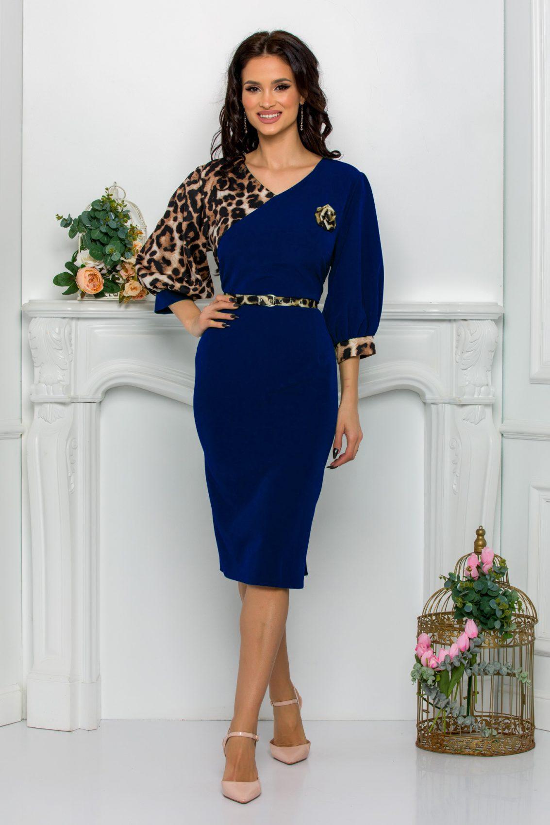 Μπλε Φόρεμα Με Λεοπάρ Roses 9643 1
