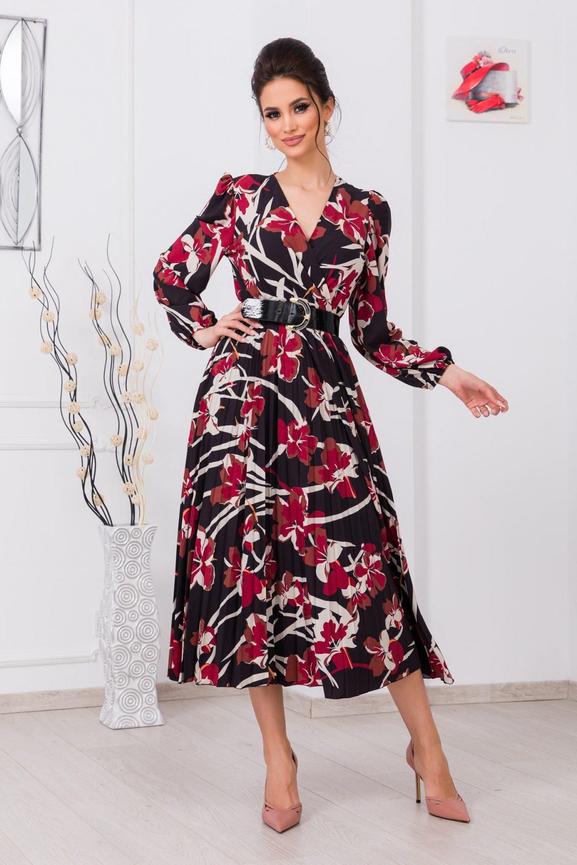 Μπορντό Κρουαζέ Φλοράλ Φόρεμα Malina 9684 1