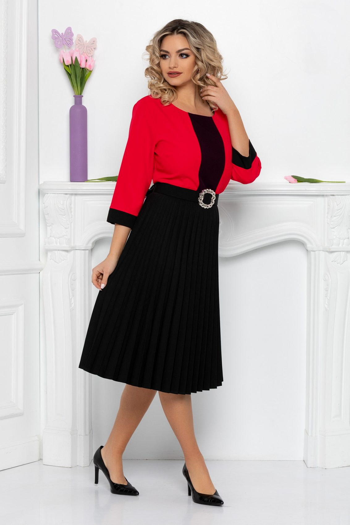 Κοραλί Μίντι Πλισέ Φόρεμα Tyrra 9502 1