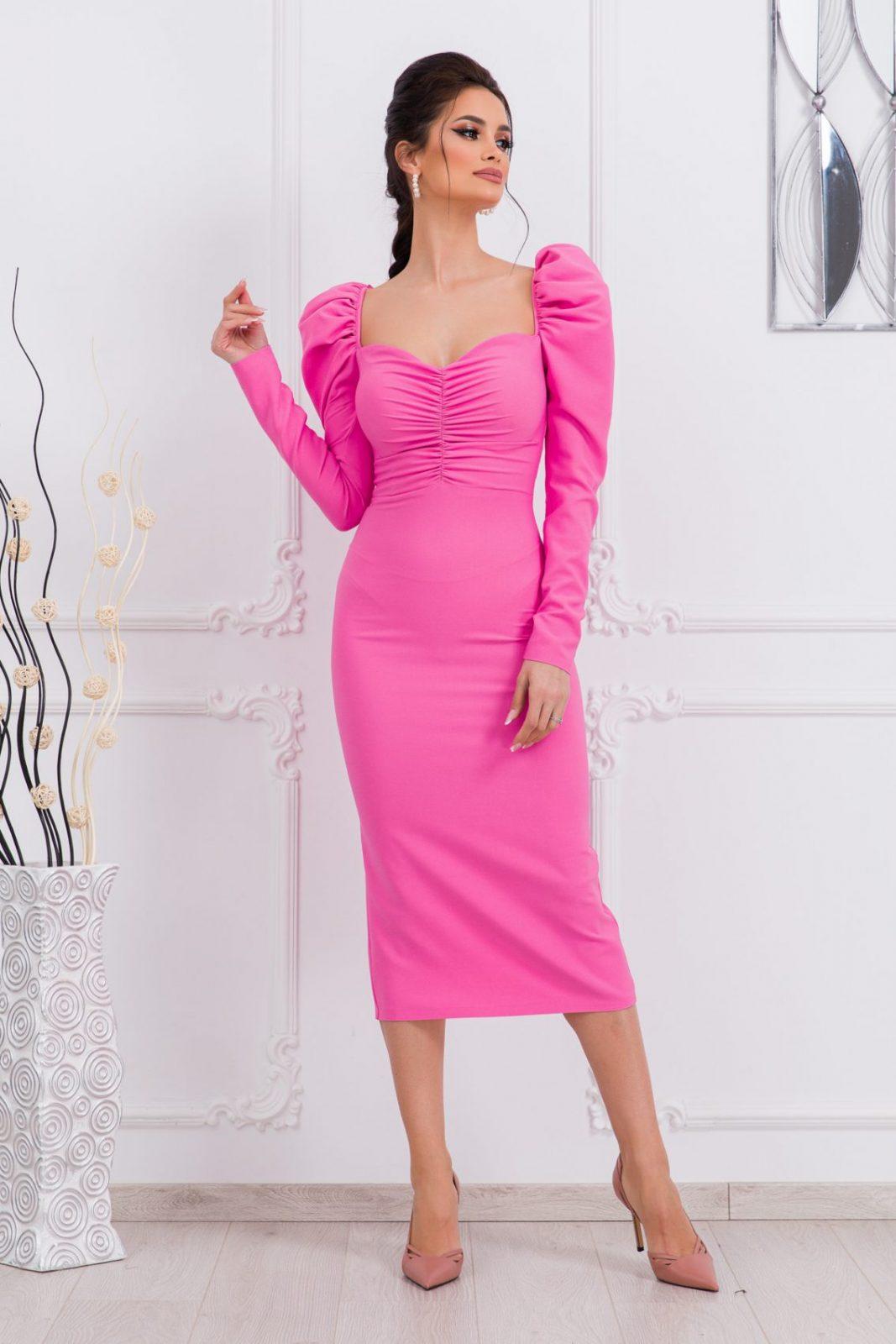 Ροζ Μίντι Φόρεμα Pandora 9702 1