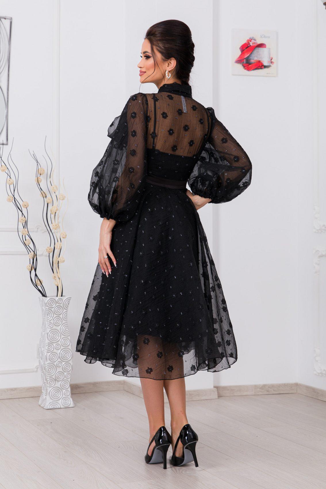 Μαύρο Φόρεμα Με Φουσκωτά Μανίκια Charming 9741 2