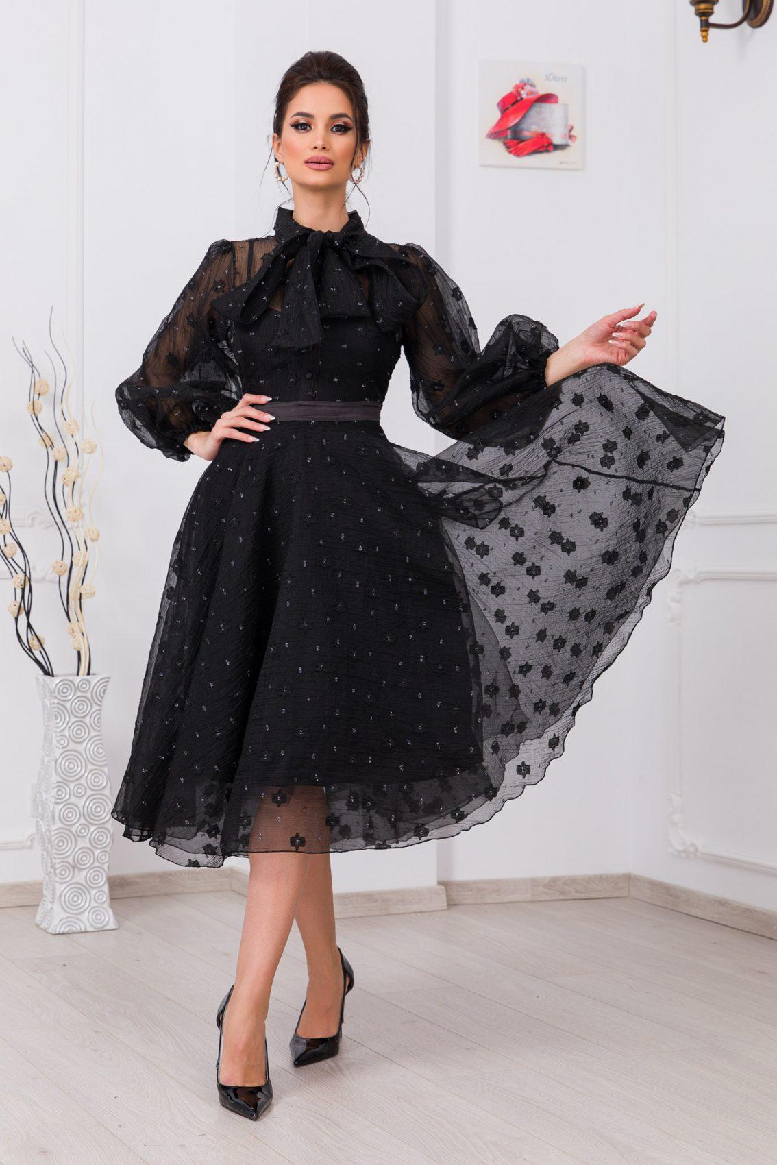 Μαύρο Φόρεμα Με Φουσκωτά Μανίκια Charming 9741 3