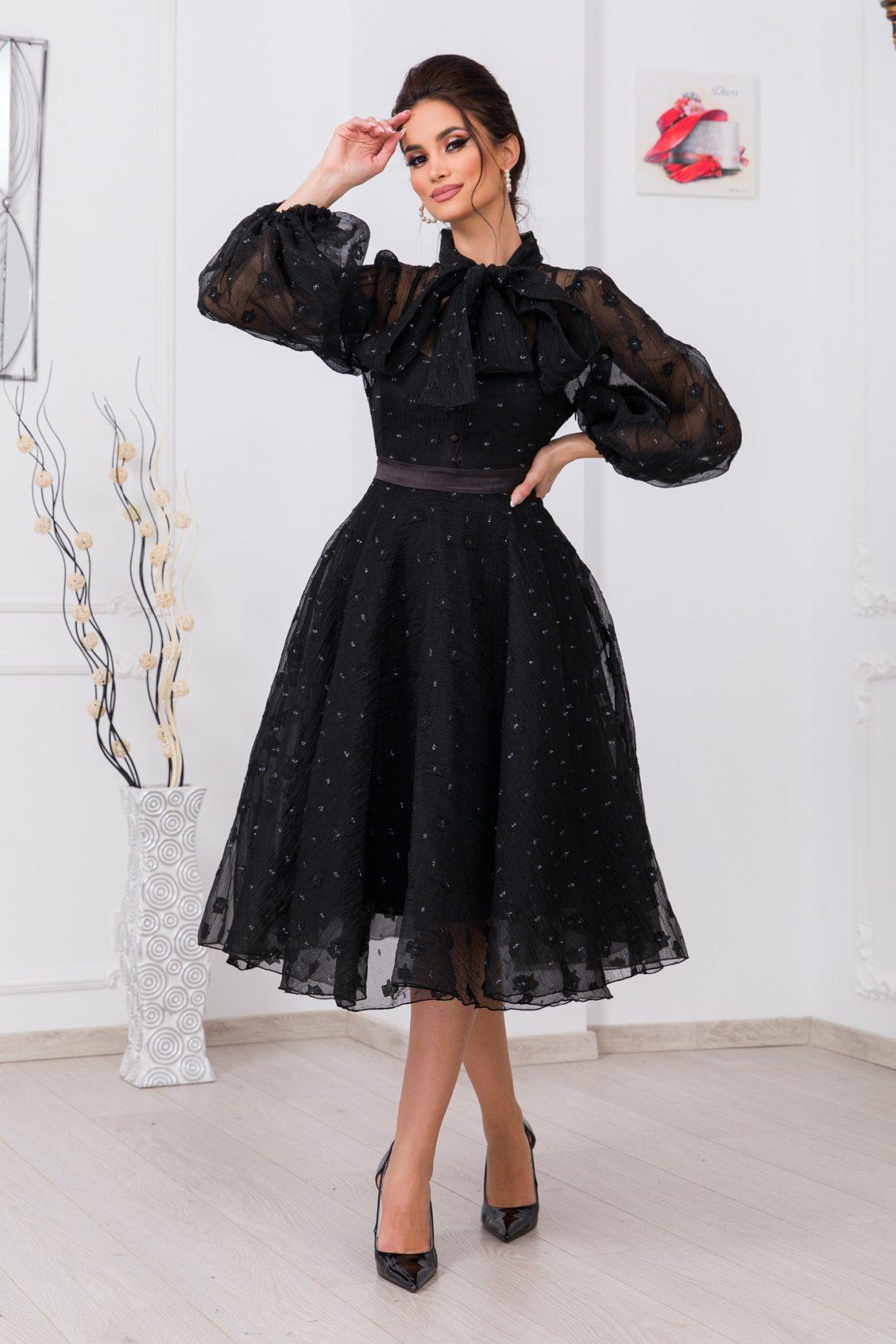 Μαύρο Φόρεμα Με Φουσκωτά Μανίκια Charming 9741 1