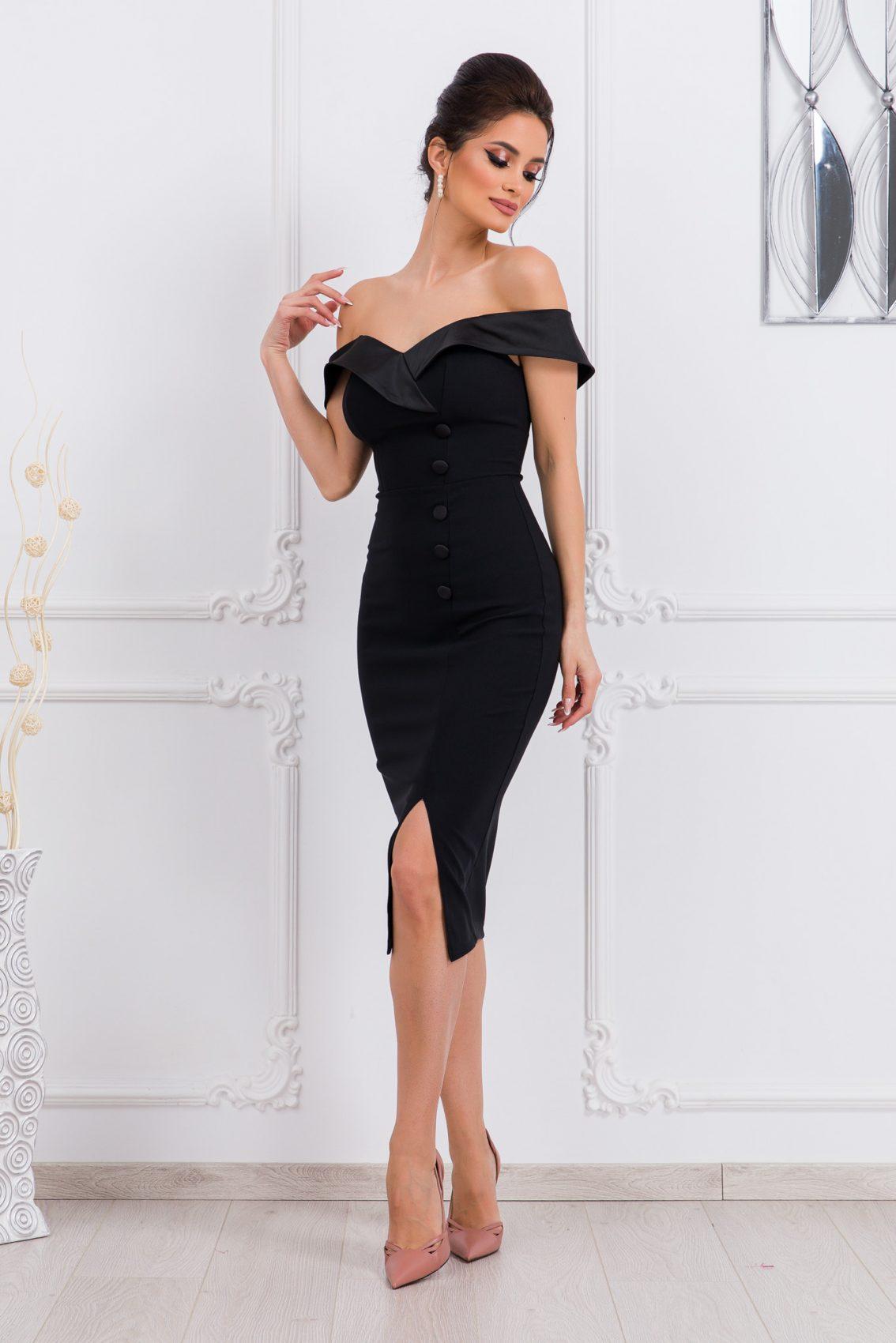 Μαύρο Μίντι Φόρεμα Edina 9780 1