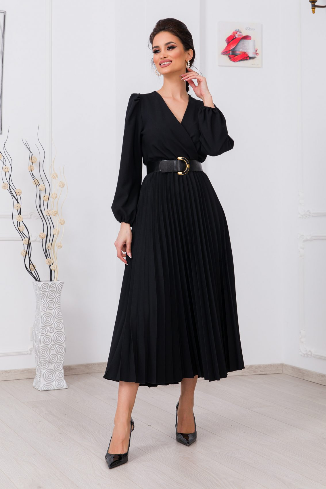 Μαύρο Μίντι Κρουαζέ Φόρεμα Janine 9735 1