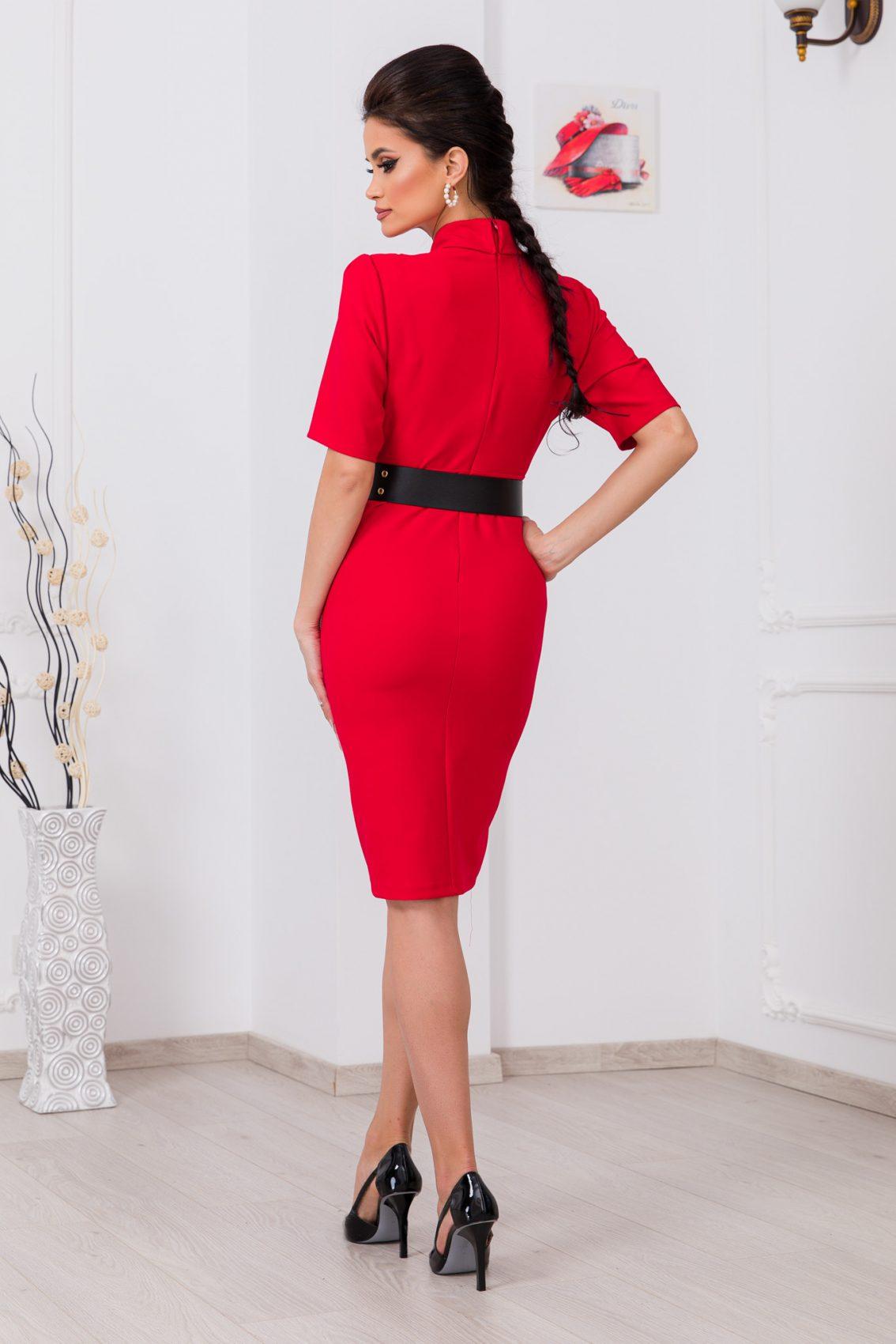 Κόκκινο Φόρεμα Με Ζώνη Evitta 9709 2