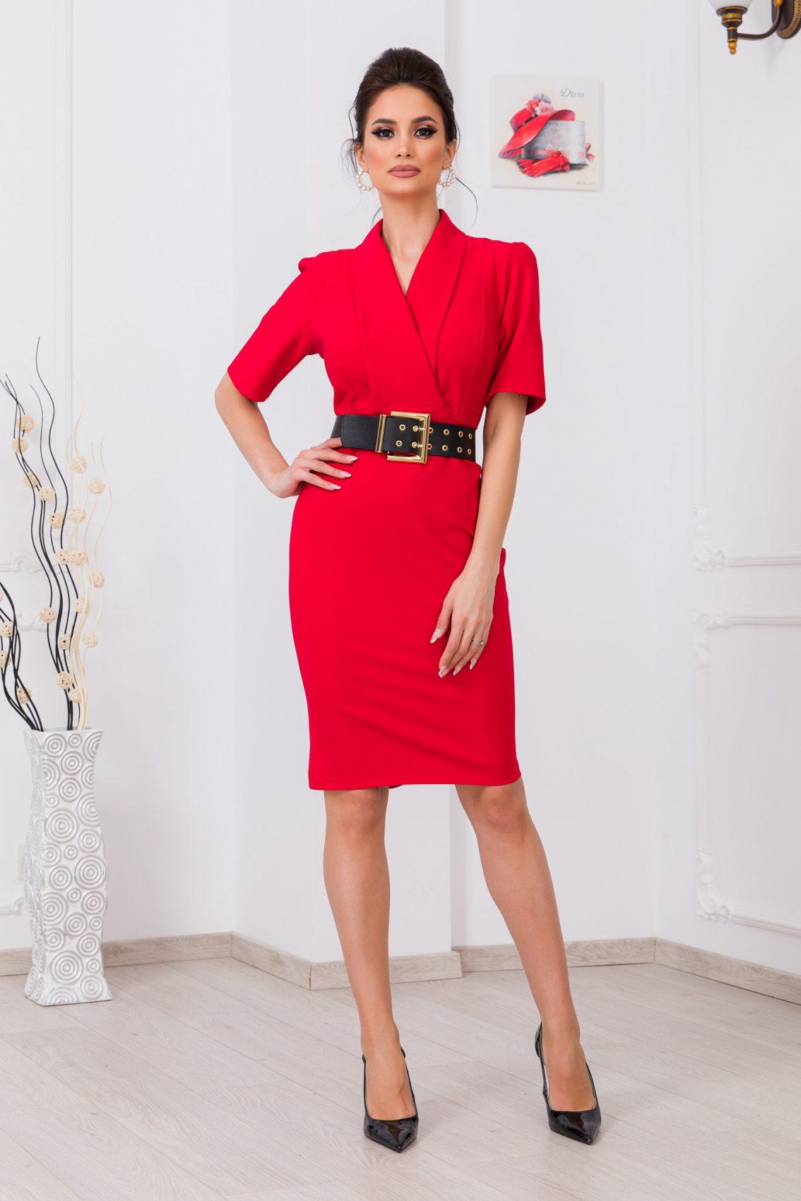 Κόκκινο Φόρεμα Με Ζώνη Evitta 9709 1