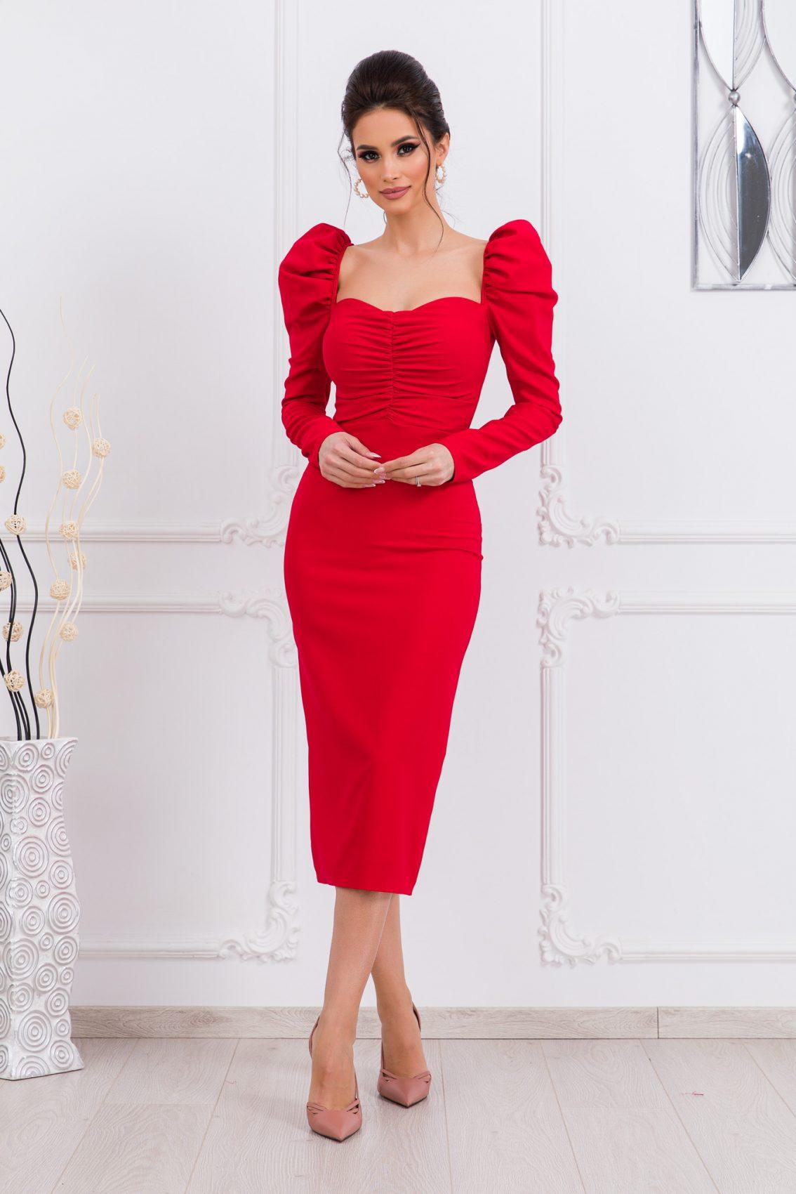 Κόκκινο Μίντι Φόρεμα Pandora 9705 1