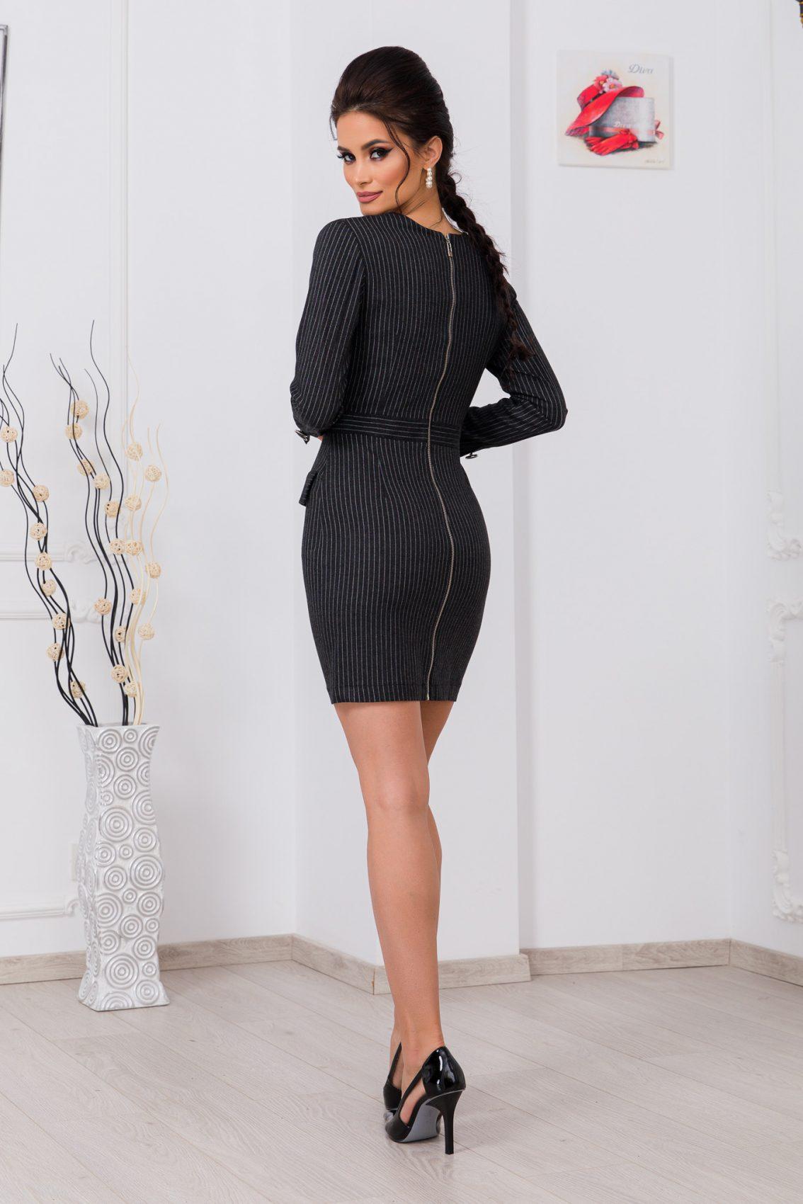 Γκρι Μίνι Ριγέ Φόρεμα Lineea 9790 2