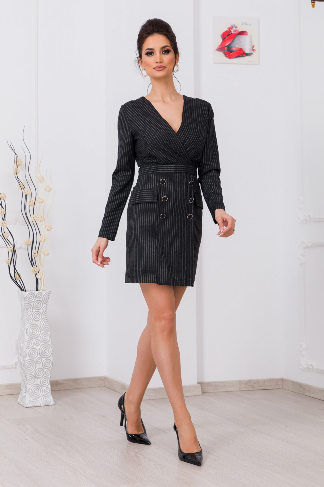 Γκρι Μίνι Ριγέ Φόρεμα Lineea 9790 3