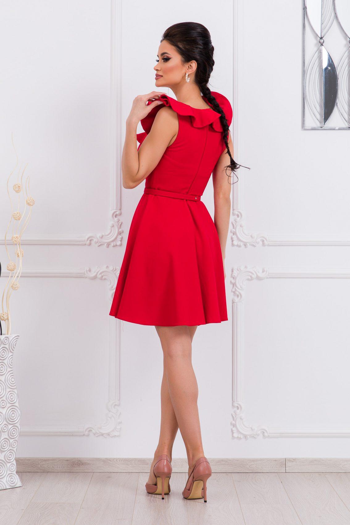 Κόκκινο Κλος Φόρεμα Με Βολάν Girlish 9678 2