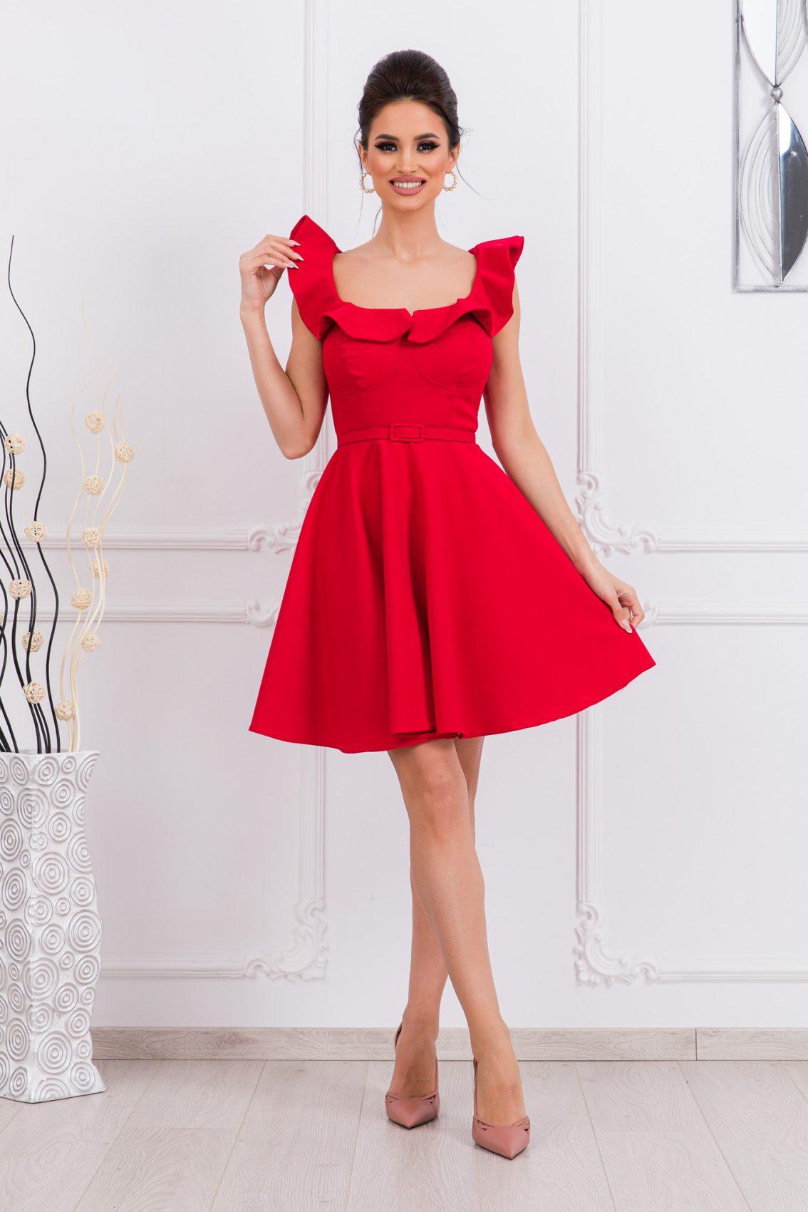 Κόκκινο Κλος Φόρεμα Με Βολάν Girlish 9678 1