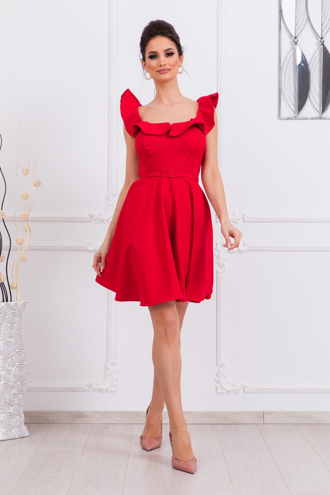 Κόκκινο Κλος Φόρεμα Με Βολάν Girlish 9678 3