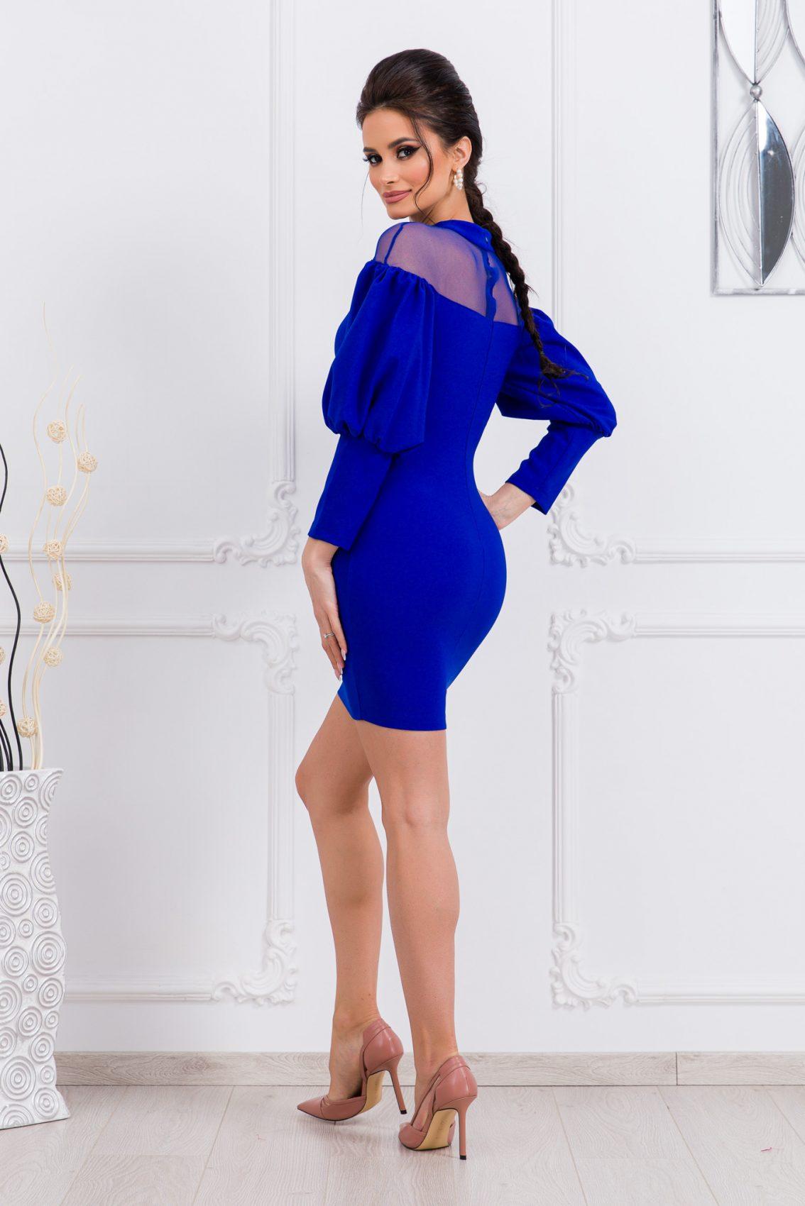 Μπλε Ρουά Φόρεμα Με Φουσκωτά Μανίκια Aliss 9712 2