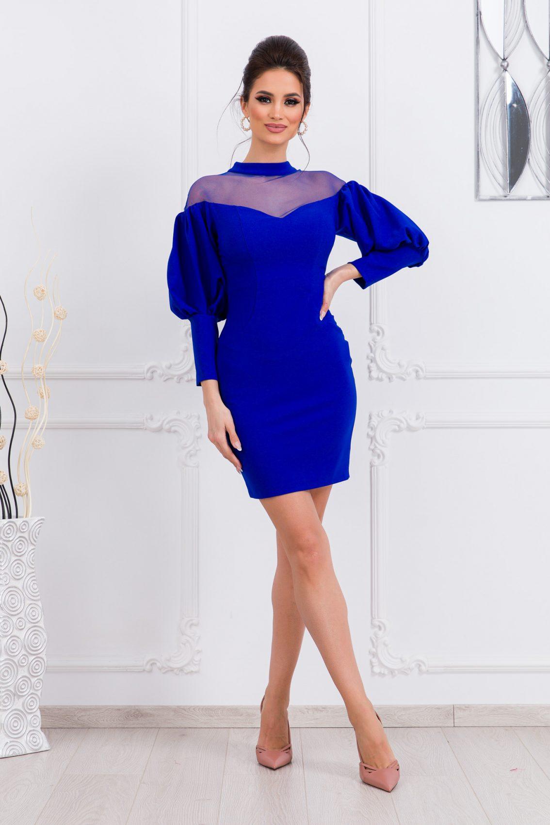 Μπλε Ρουά Φόρεμα Με Φουσκωτά Μανίκια Aliss 9712 1