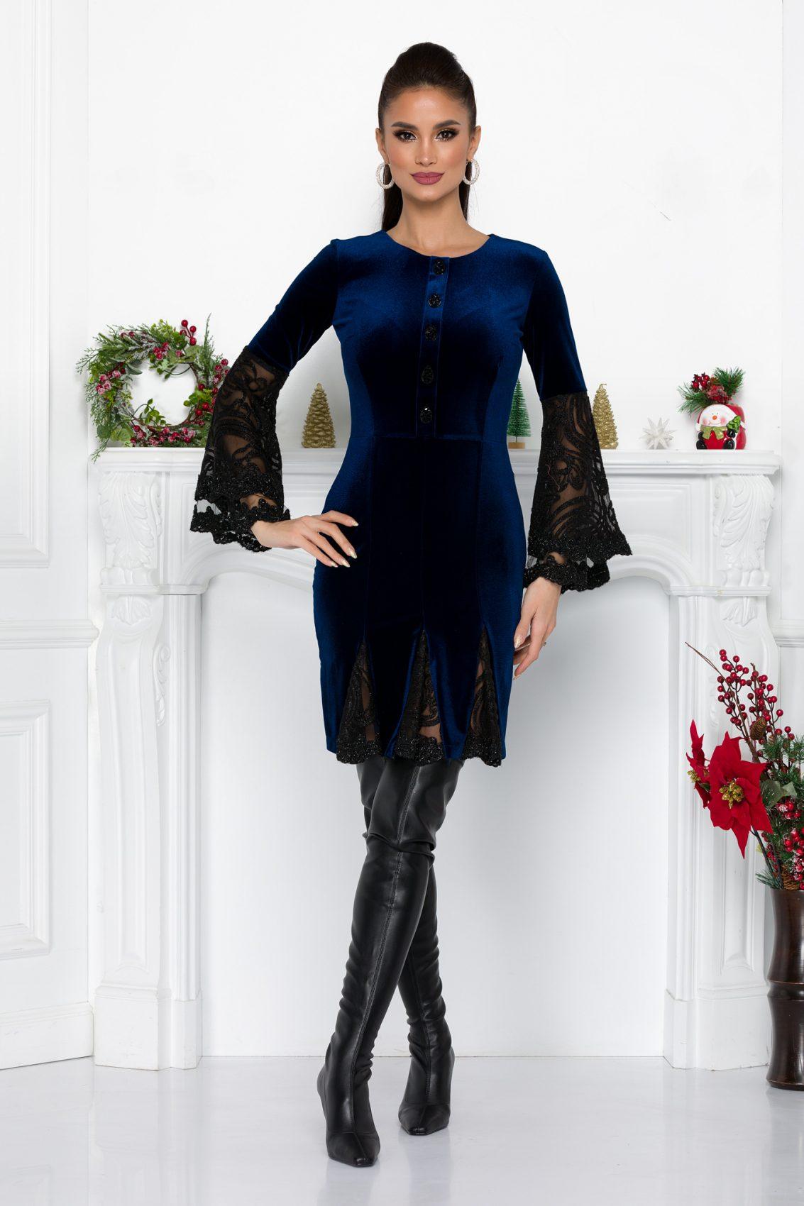 Μπλε Φόρεμα Με Δαντέλα Ivonne 9337 3