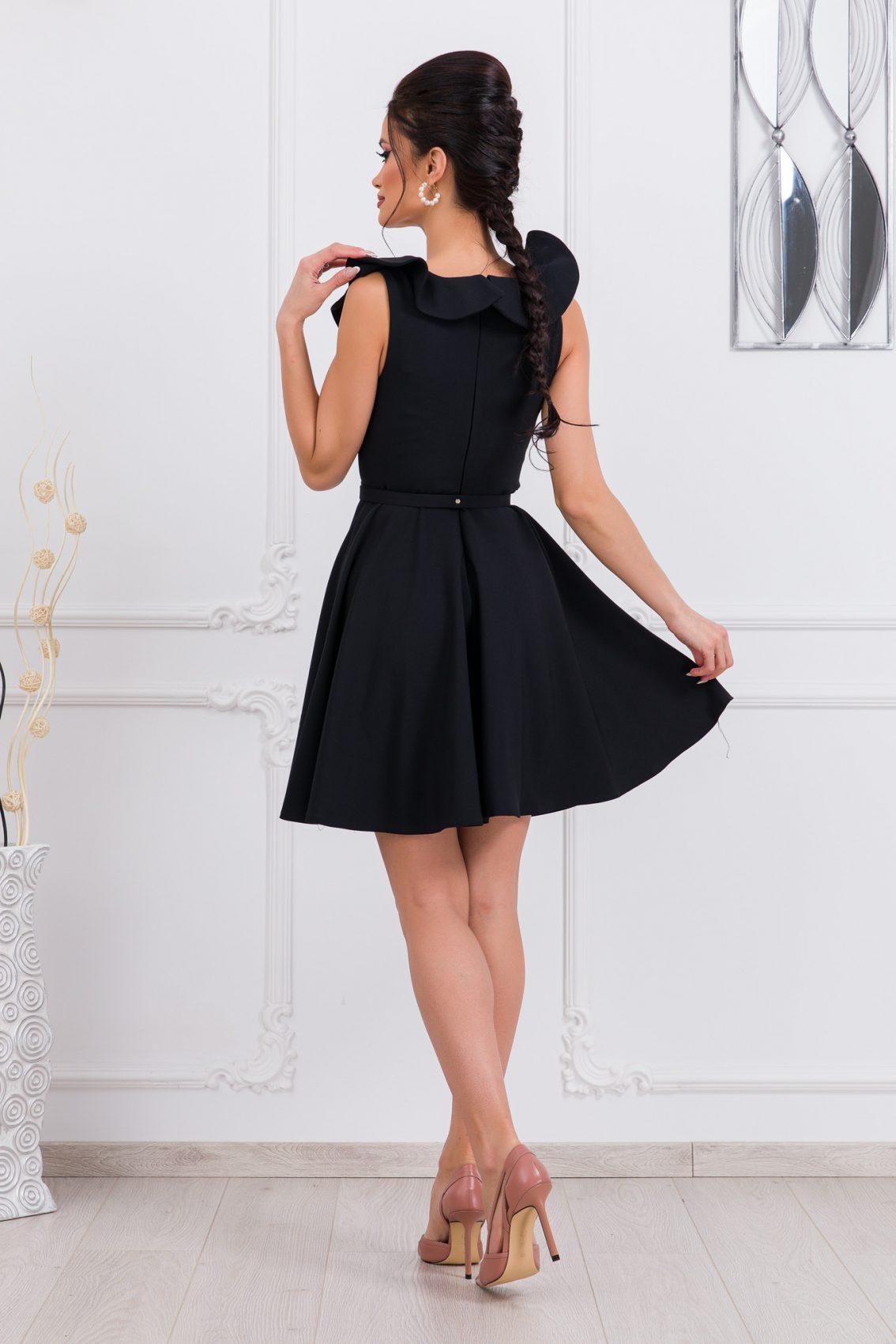 Μαύρο Κλος Φόρεμα Με Βολάν Girlish 9675 2
