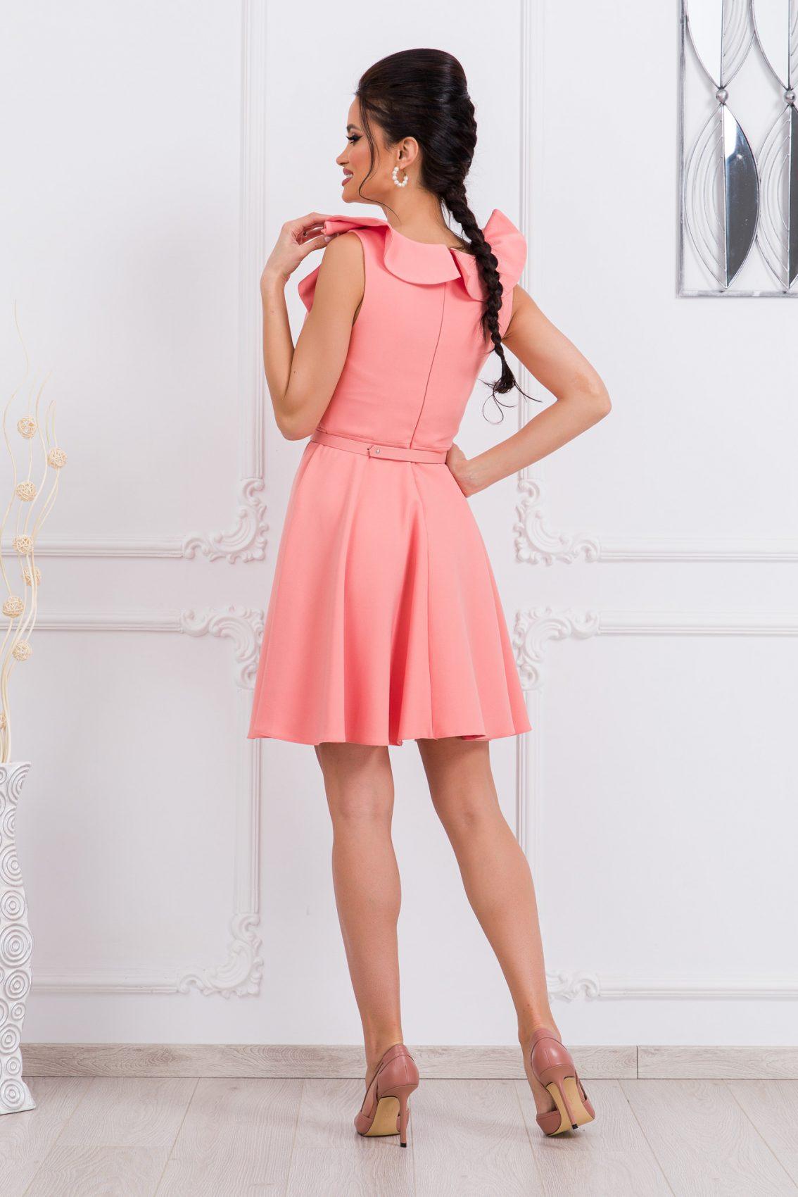 Ροδακινί Κλος Φόρεμα Με Βολάν Girlish 9677 2