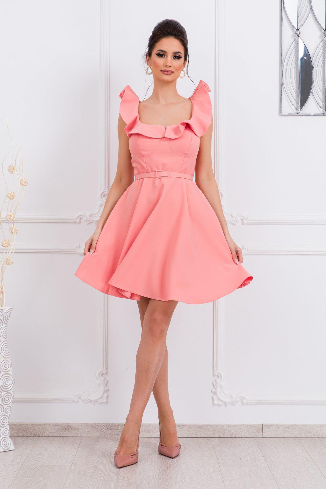 Ροδακινί Κλος Φόρεμα Με Βολάν Girlish 9677 1
