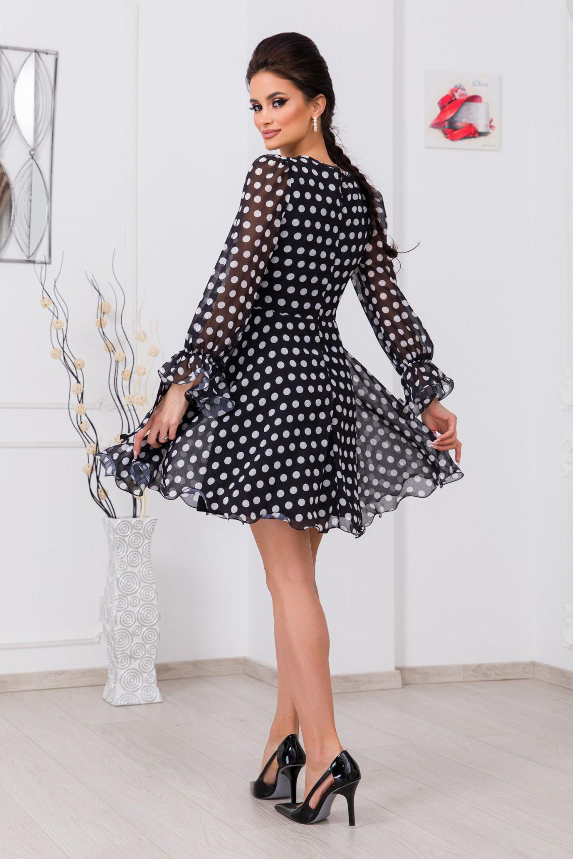 Μαύρο Πουά Κρουαζέ Φόρεμα Simine 9688 2