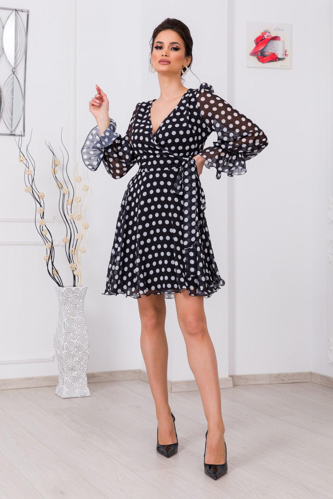 Μαύρο Πουά Κρουαζέ Φόρεμα Simine 9688 1
