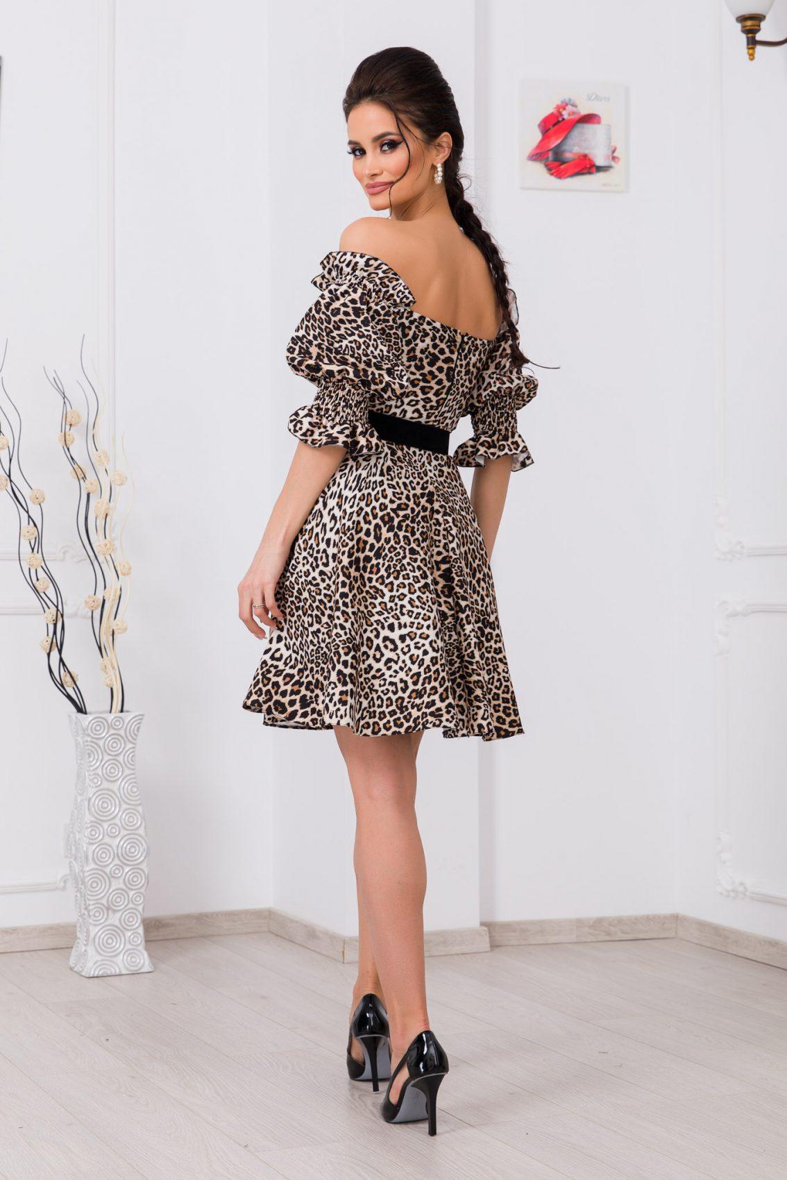 Λεοπάρ Φόρεμα Με Ζώνη Elixir 9725 2