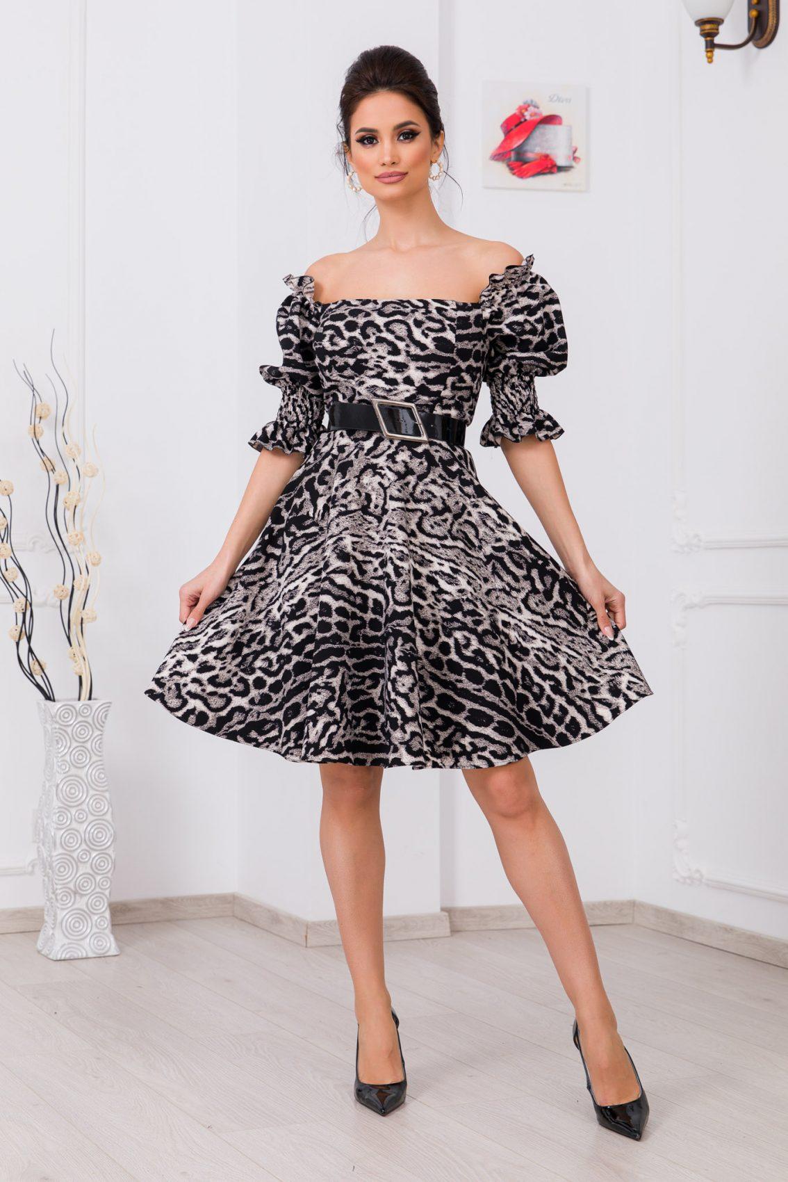 Μαύρο Λεοπάρ Φόρεμα Με Ζώνη Elixir 9737 1