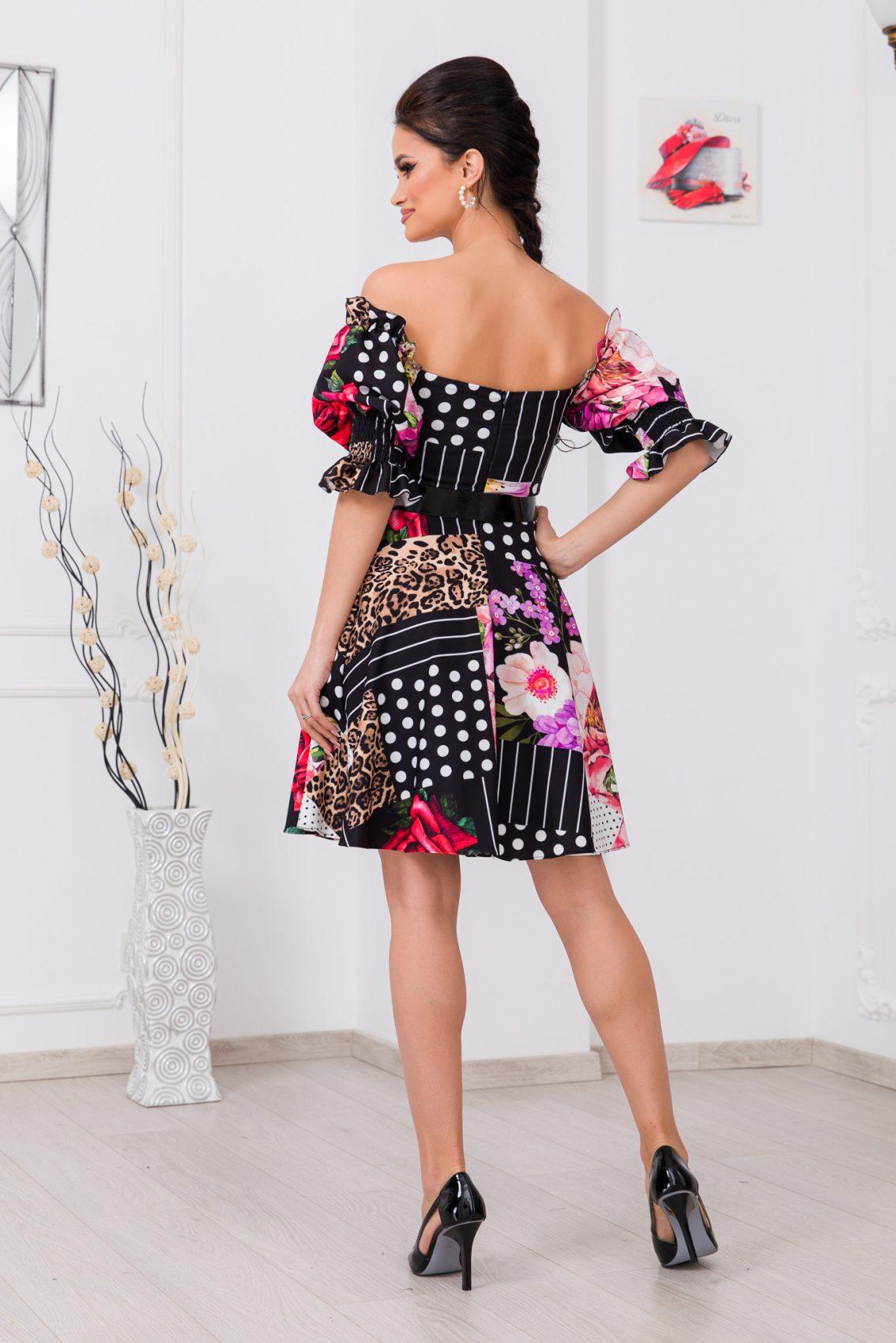 Πολύχρωμο Φόρεμα Με Ζώνη Elixir 9730 2