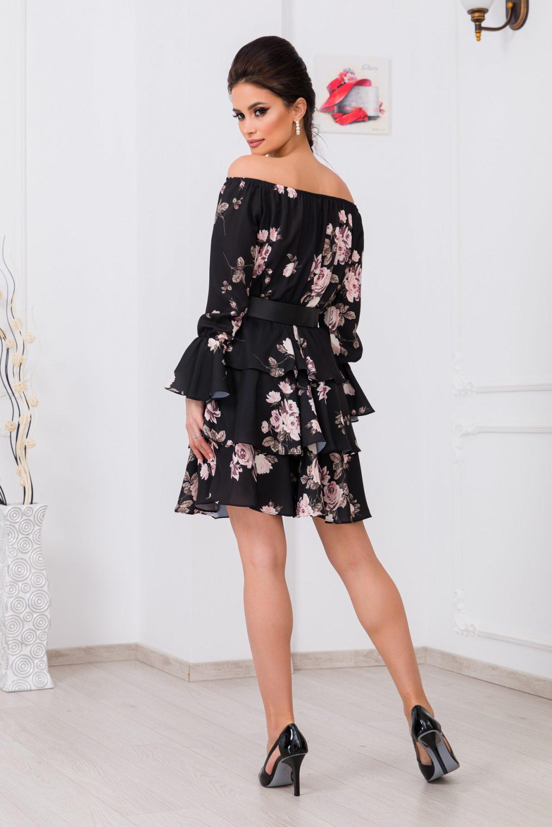 Μαύρο Φλοράλ Φόρεμα Με Βολάν Jodie 9769 2