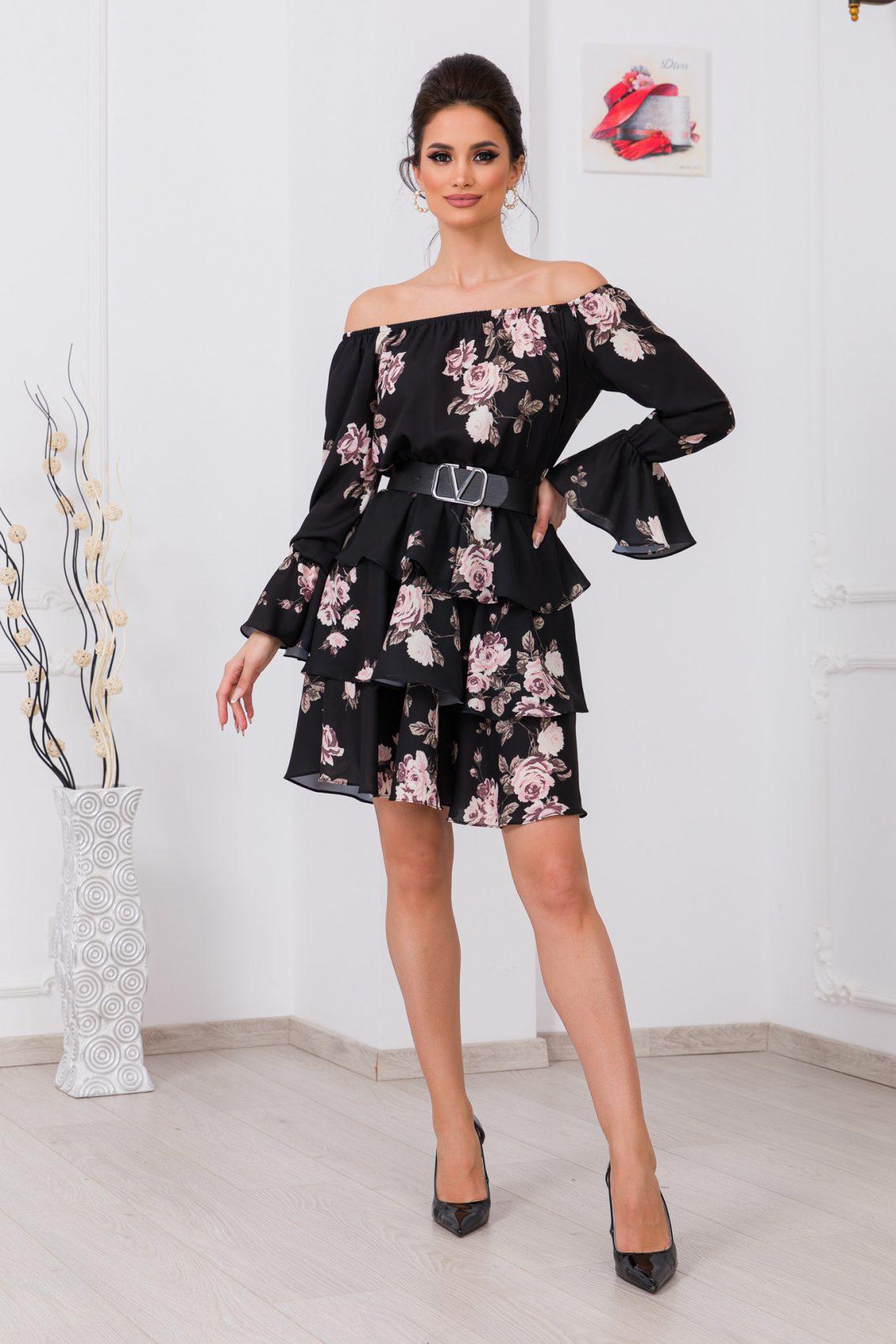 Μαύρο Φλοράλ Φόρεμα Με Βολάν Jodie 9769 1