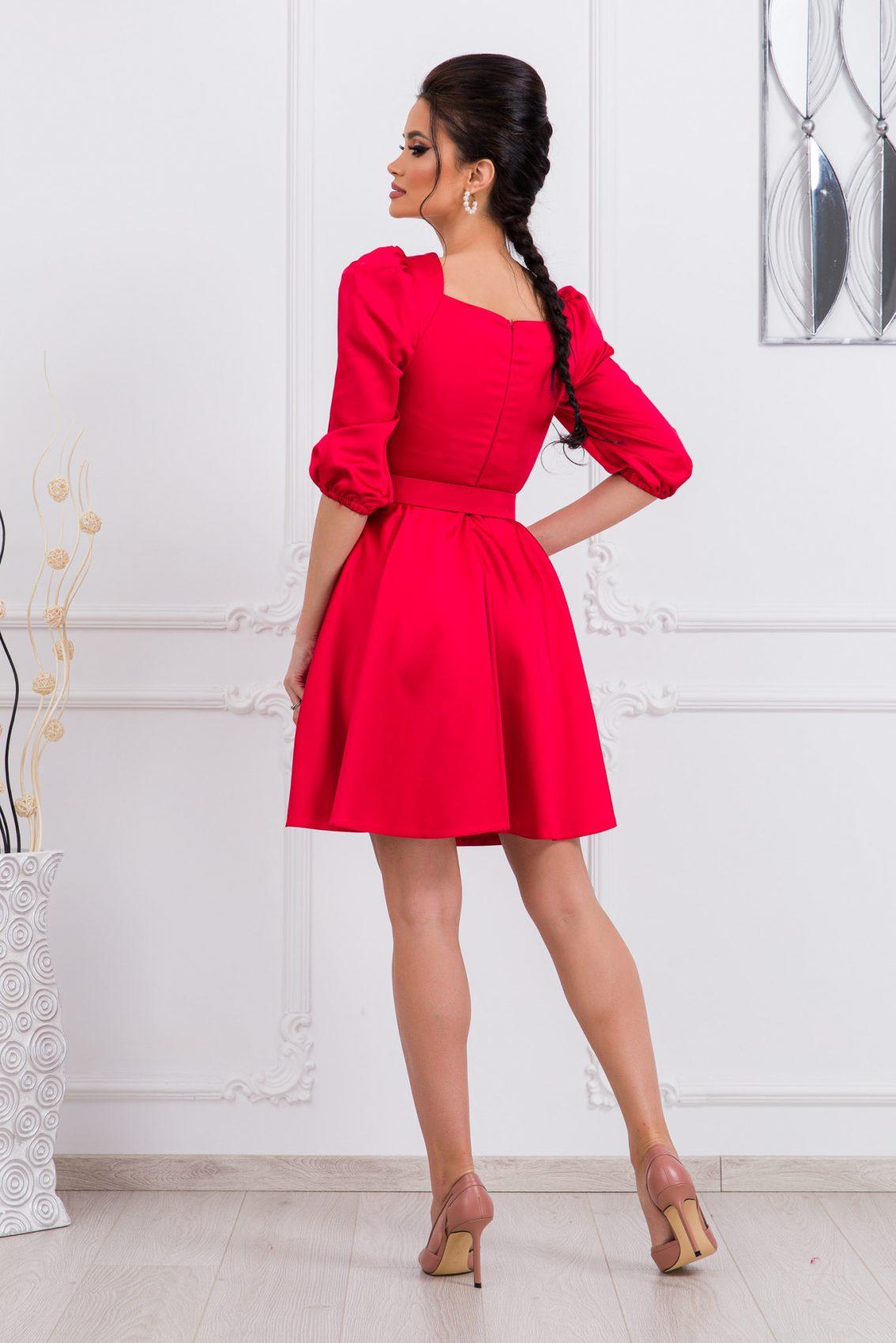 Κόκκινο Μίνι Σατέν Φόρεμα Camille 9671 2