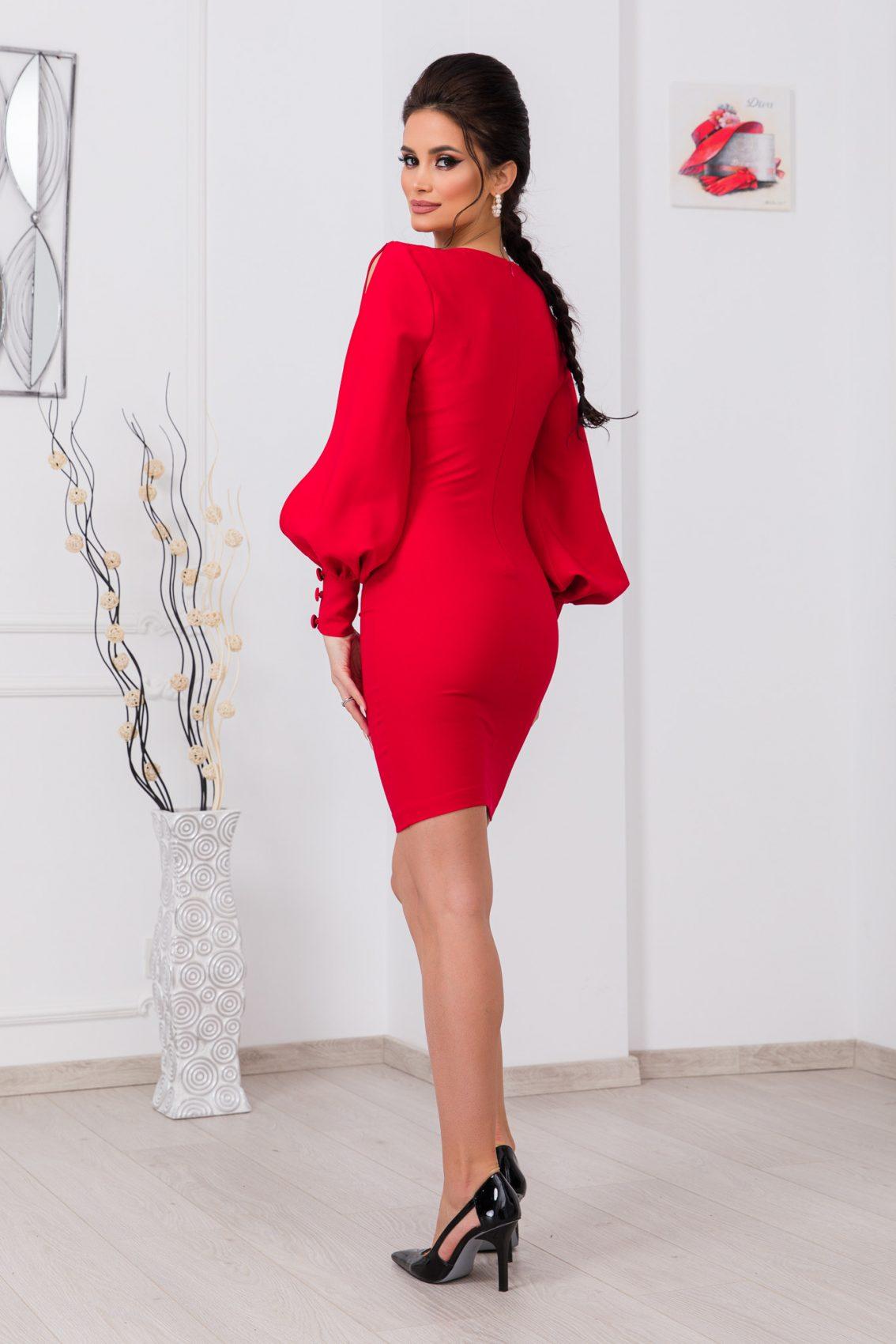 Κόκκινο Μακρυμάνικο Φόρεμα Eleni 9783 2