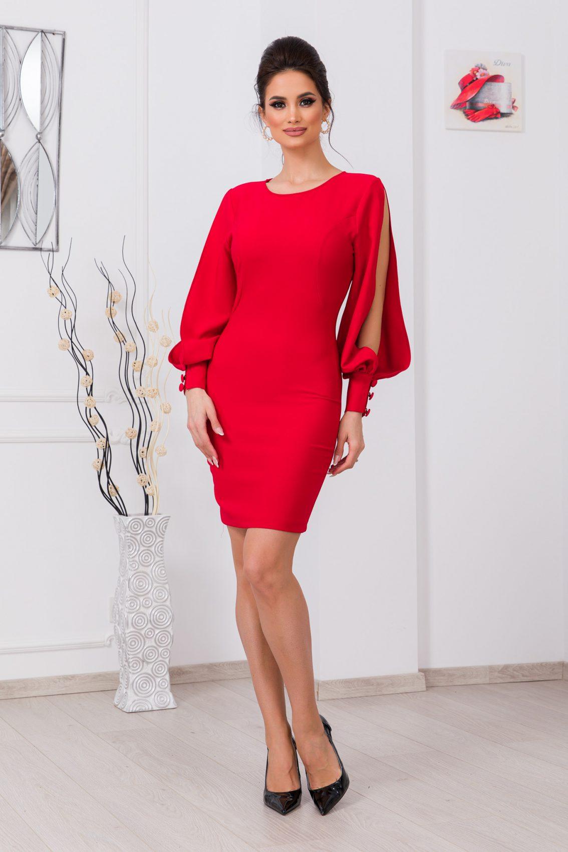 Κόκκινο Μακρυμάνικο Φόρεμα Eleni 9783 3
