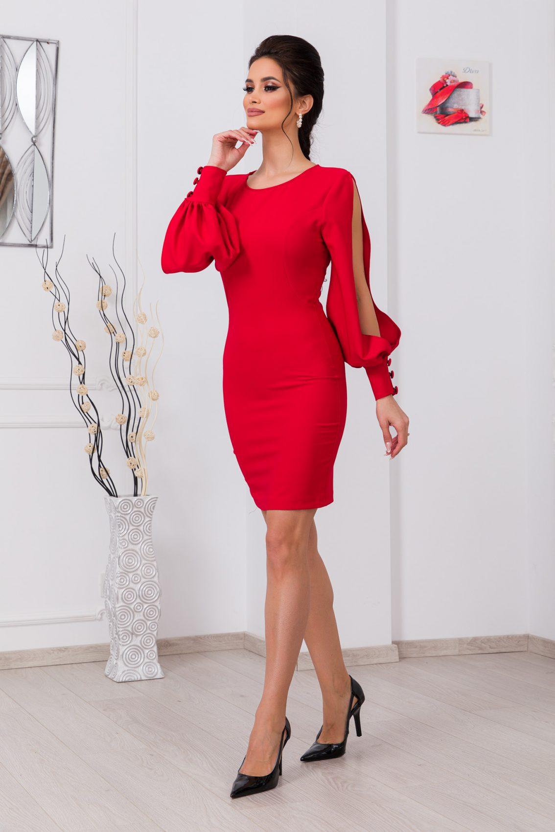 Κόκκινο Μακρυμάνικο Φόρεμα Eleni 9783 1