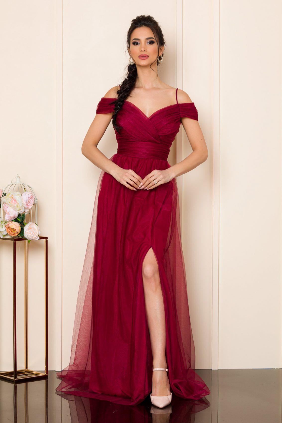 Μπορντό Μάξι Φόρεμα Remarkable 9854 1