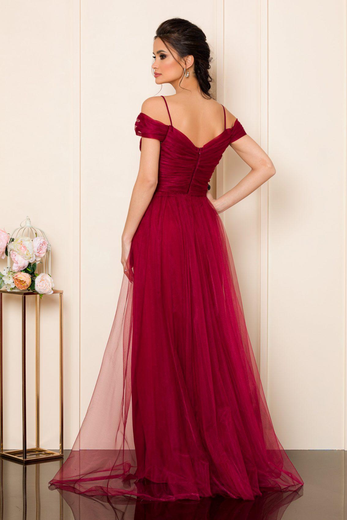 Μπορντό Μάξι Φόρεμα Remarkable 9854 2