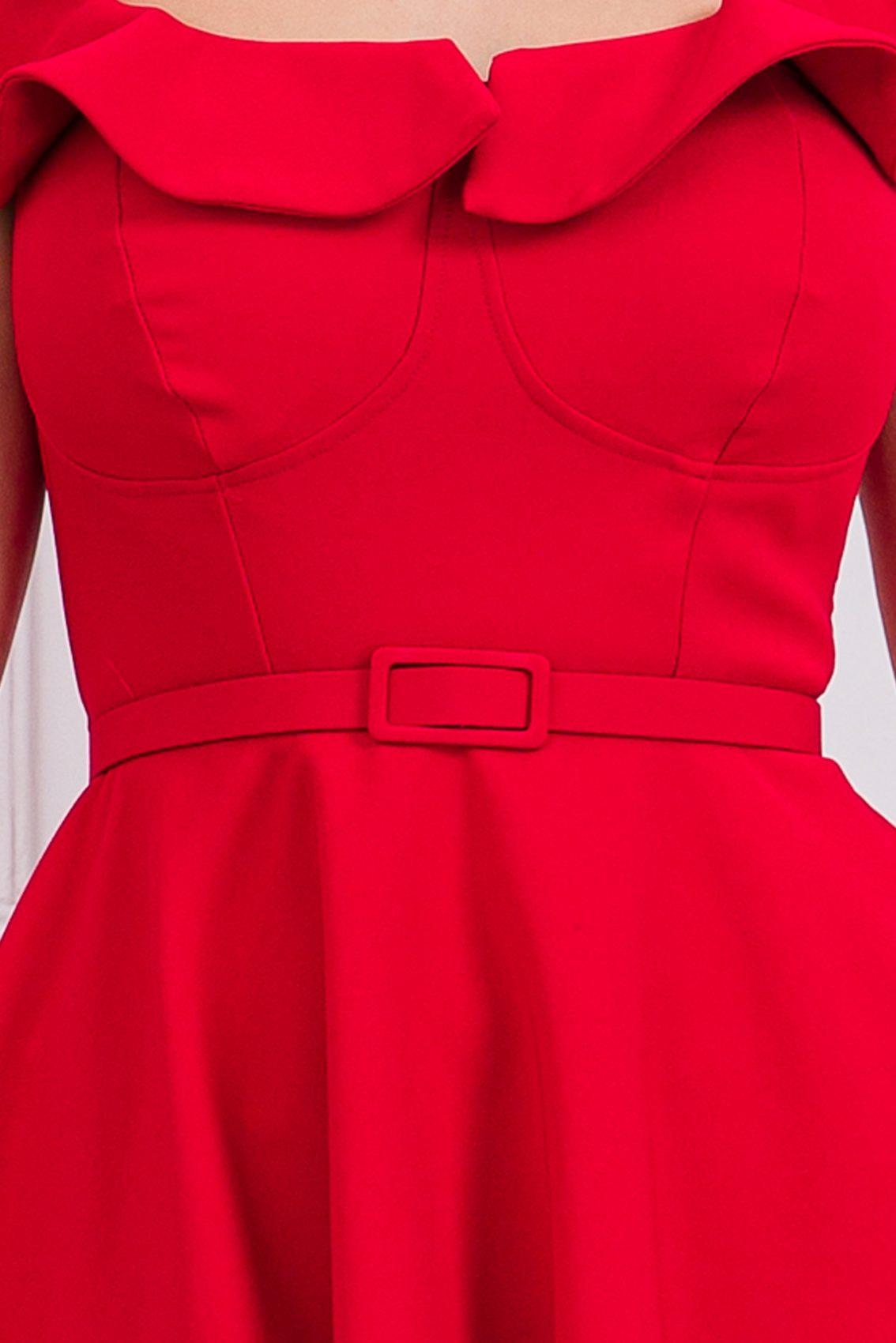 Κόκκινο Κλος Φόρεμα Με Βολάν Girlish 9678 4