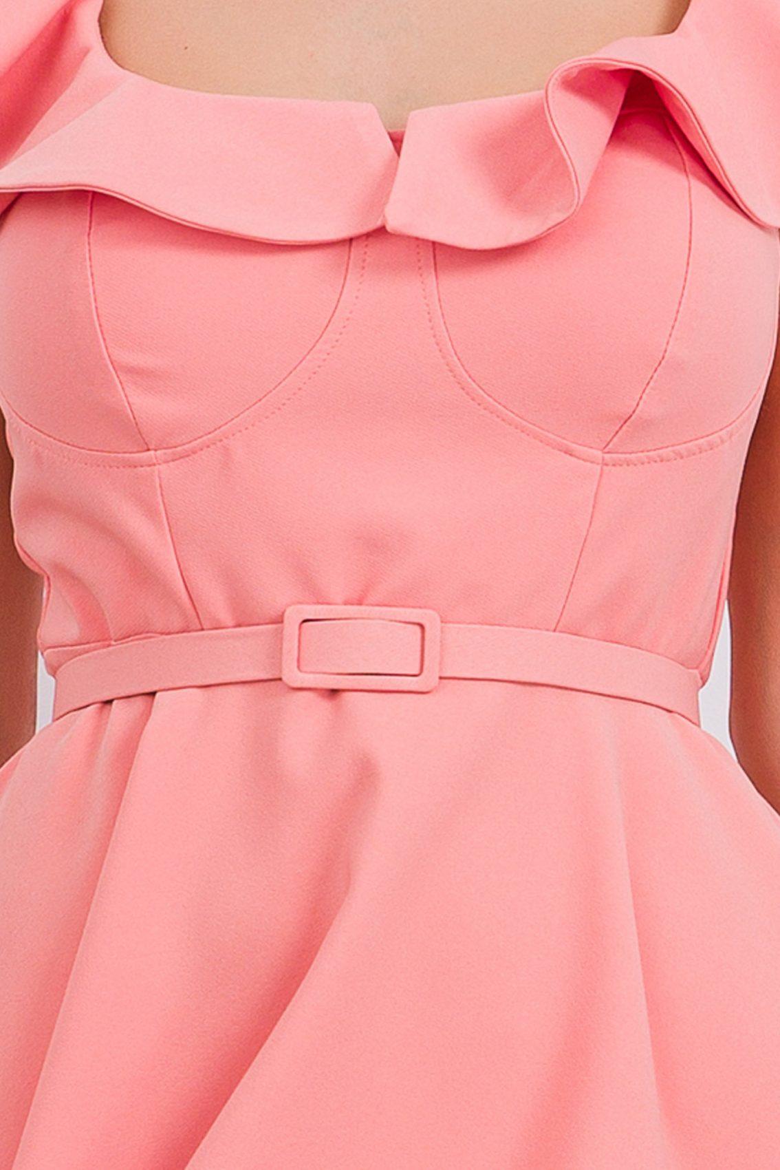 Ροδακινί Κλος Φόρεμα Με Βολάν Girlish 9677 3