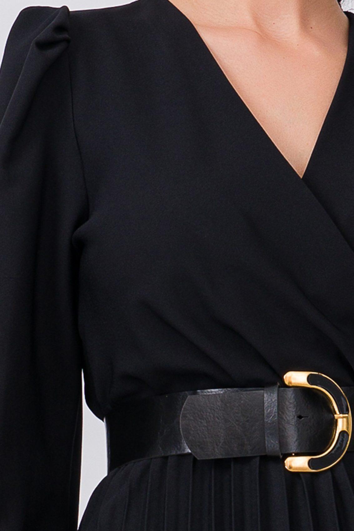 Μαύρο Μίντι Κρουαζέ Φόρεμα Janine 9735 3